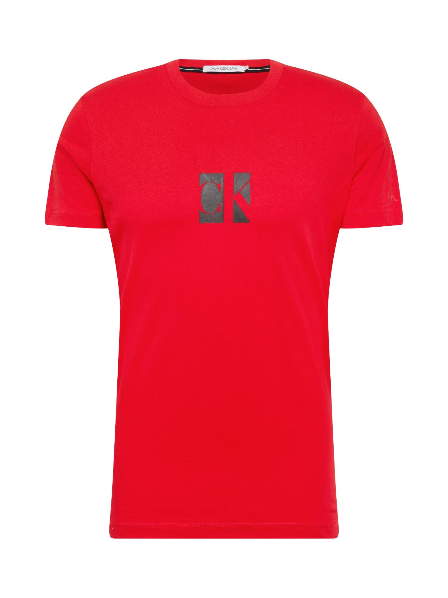 Calvin Klein Jeans Tričko  červená / šedá