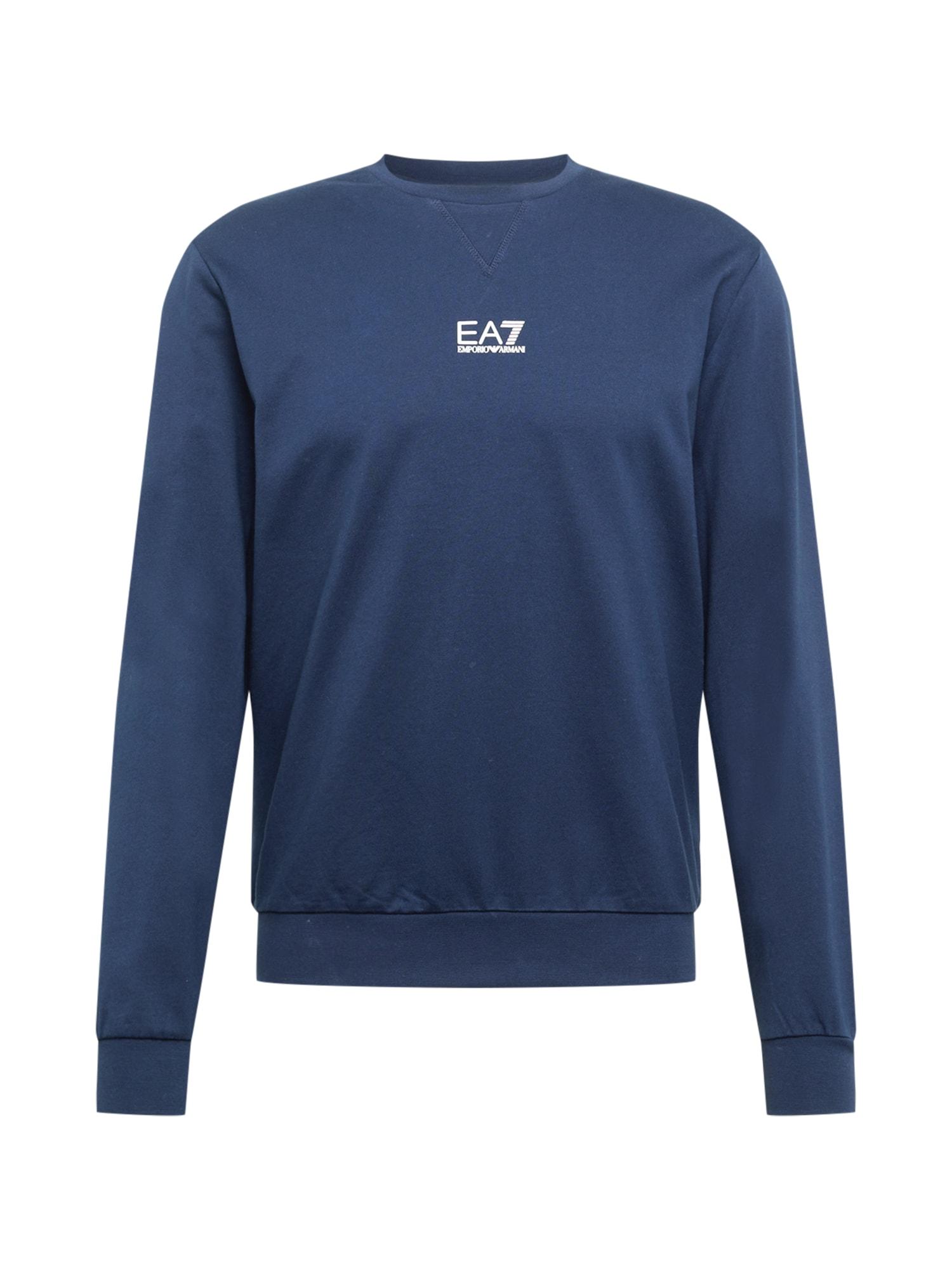 EA7 Emporio Armani Megztinis be užsegimo tamsiai mėlyna jūros spalva / balta
