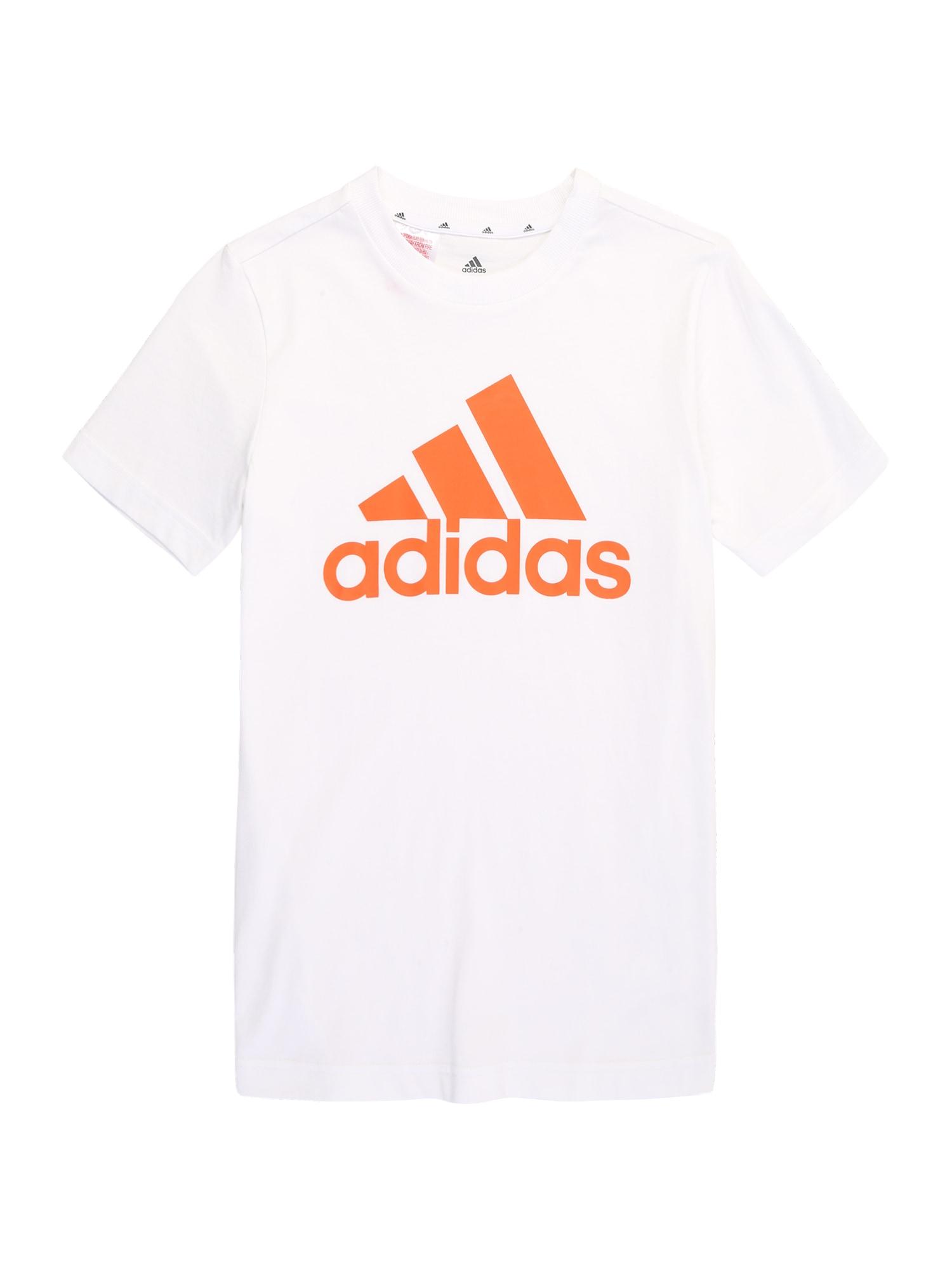 ADIDAS PERFORMANCE Sportiniai marškinėliai balta / neoninė oranžinė