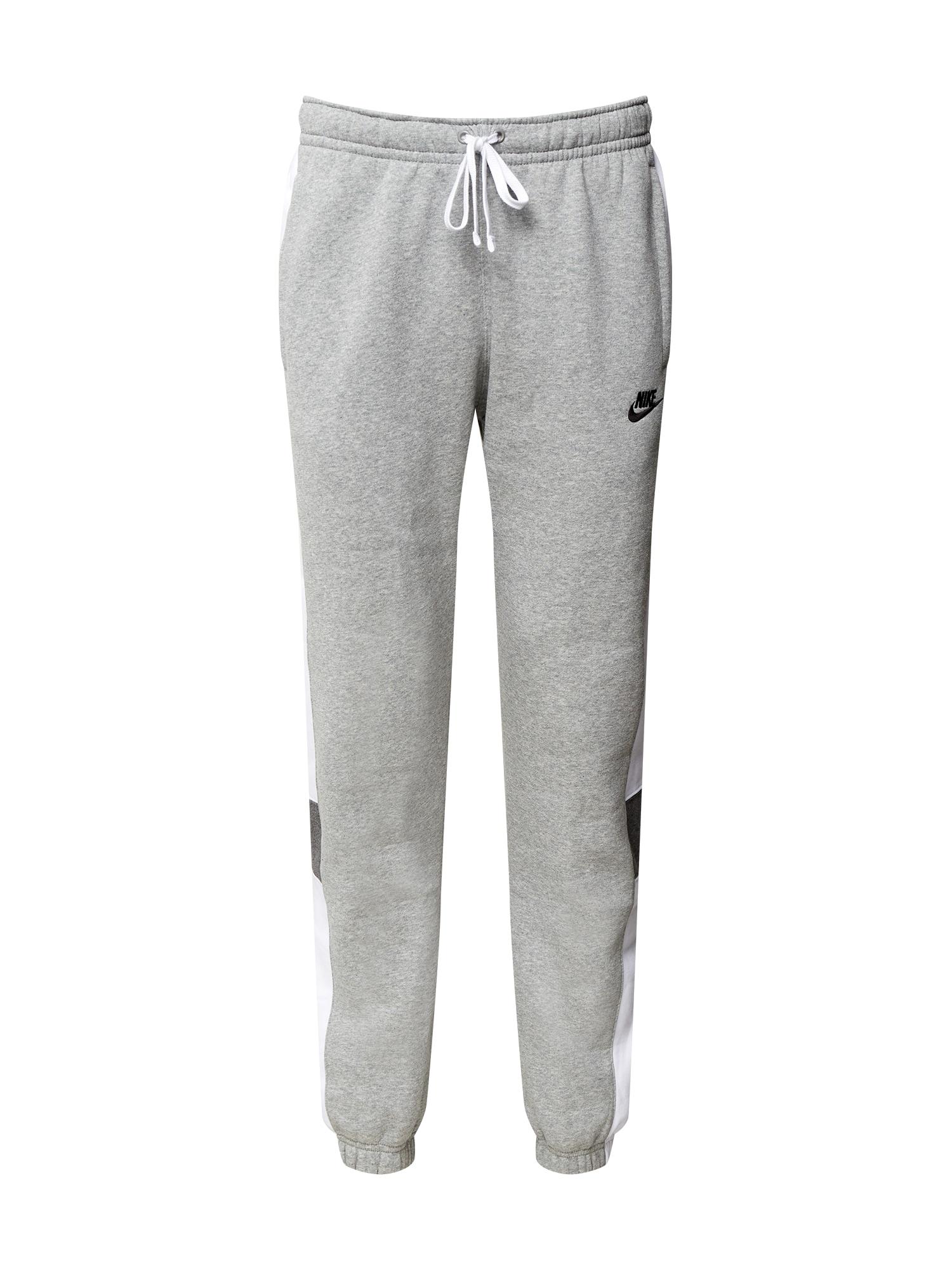 Nike Sportswear Kalhoty  šedý melír / bílá / černá