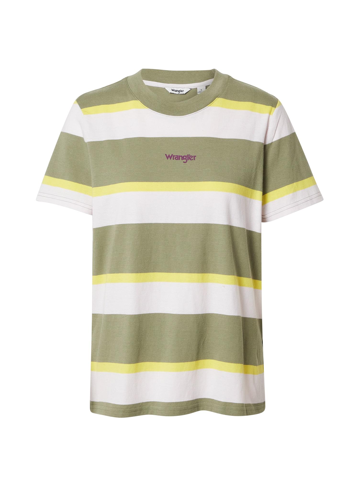 WRANGLER Marškinėliai žalia / balta / geltona