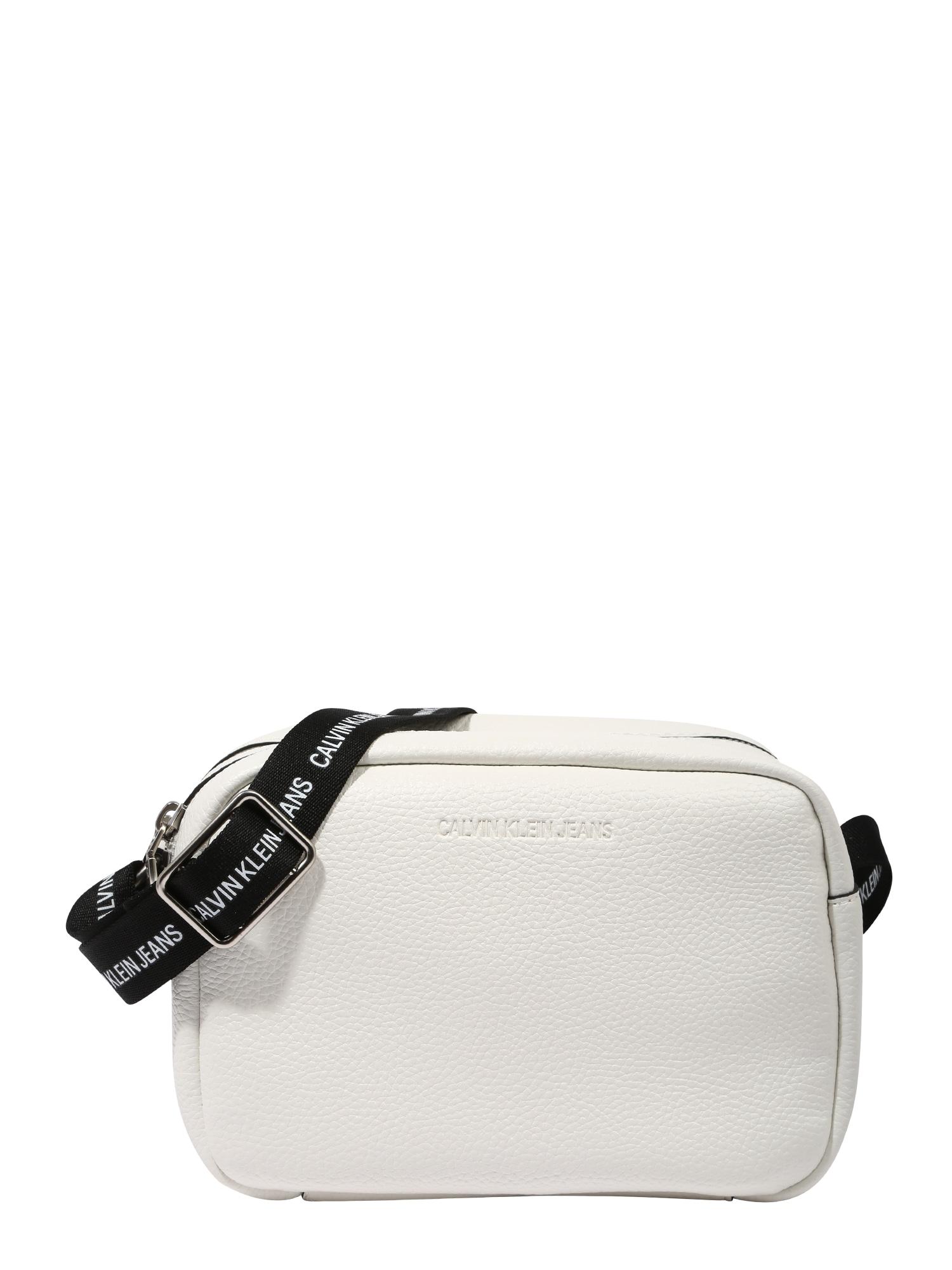 Calvin Klein Jeans Rankinė su ilgu dirželiu balta / juoda