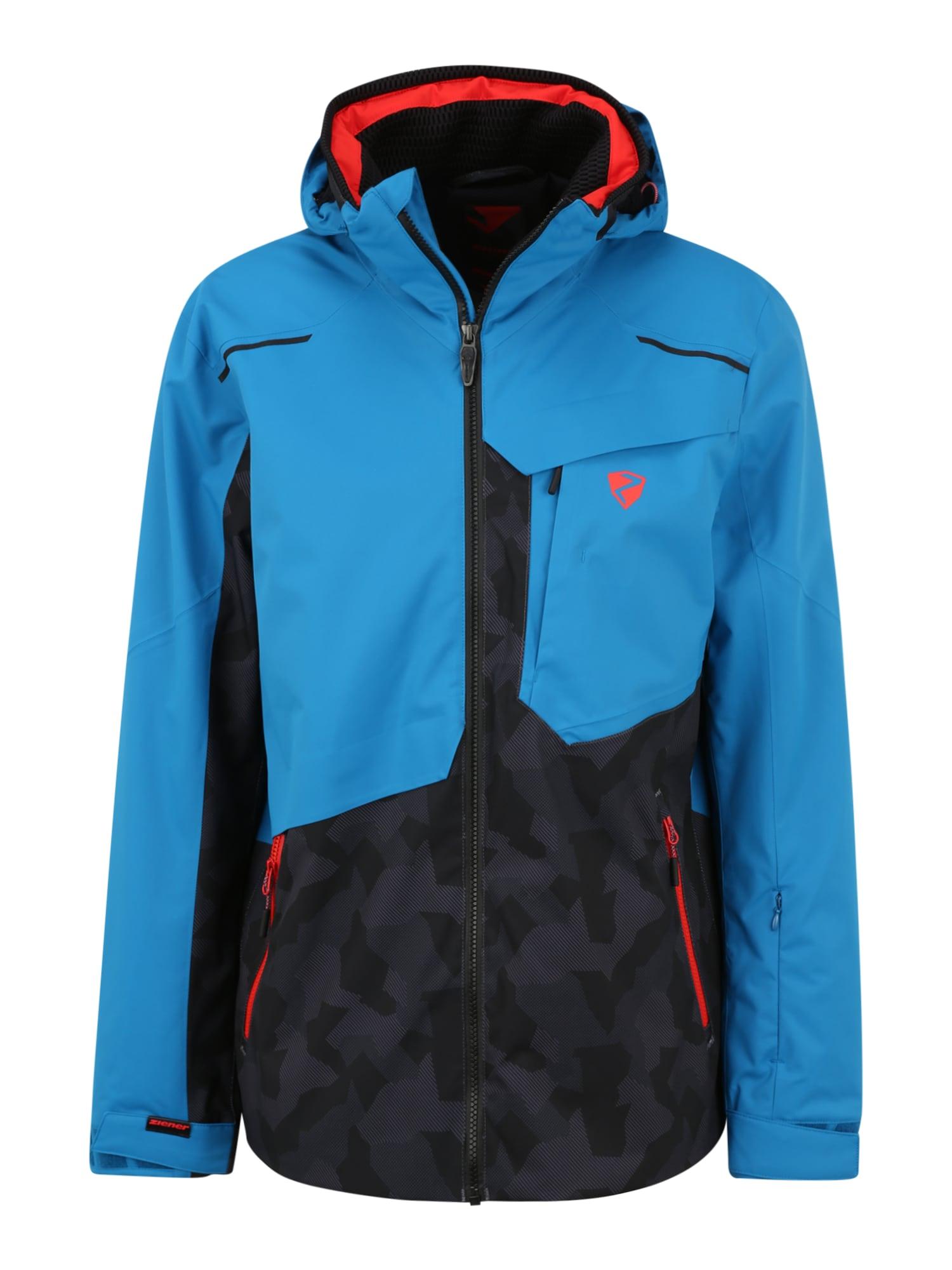 ZIENER Outdoorová bunda  světlemodrá / černá / svítivě oranžová / tmavě šedá