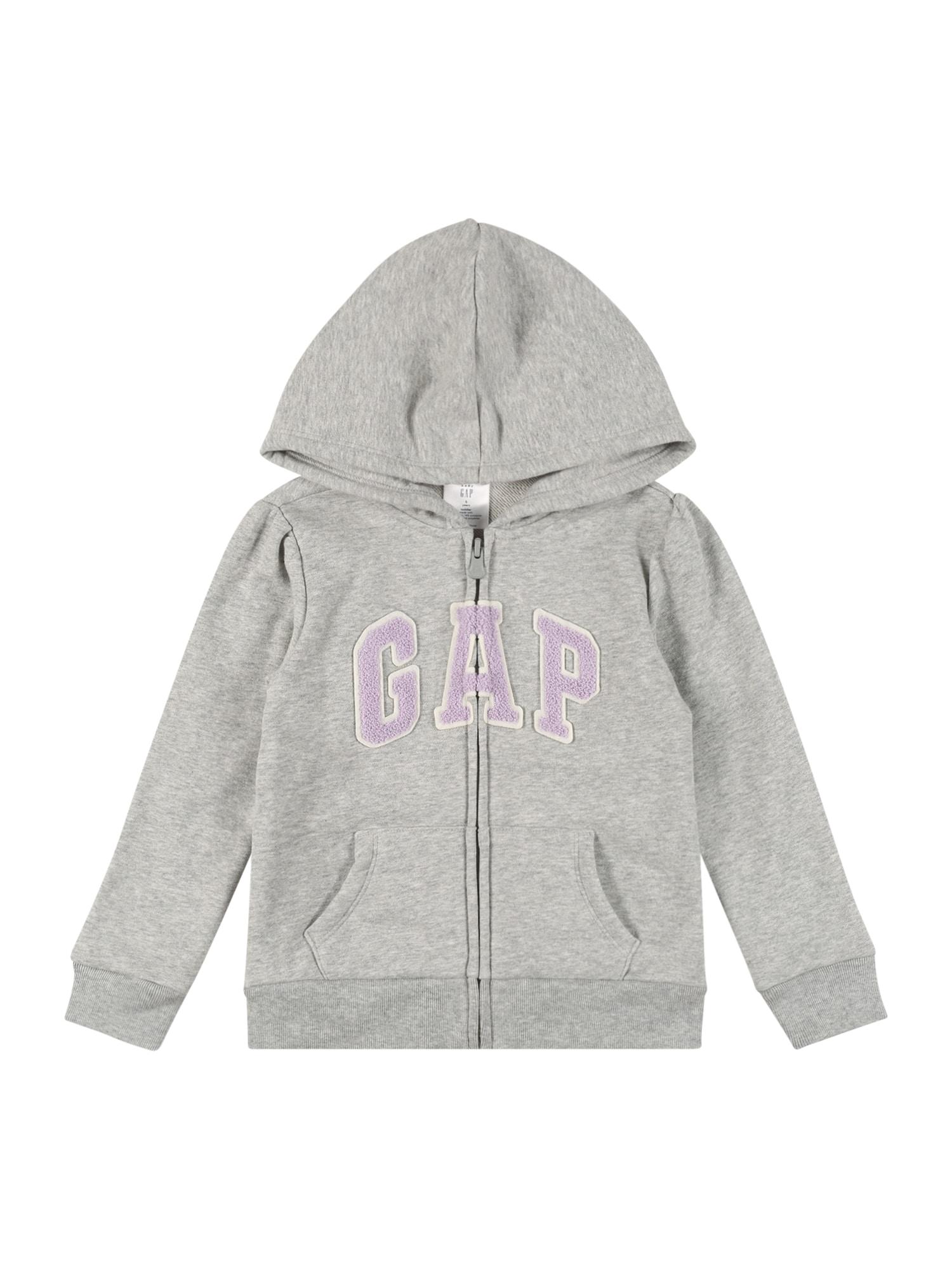 GAP Džemperis margai pilka / balta / rausvai violetinė spalva