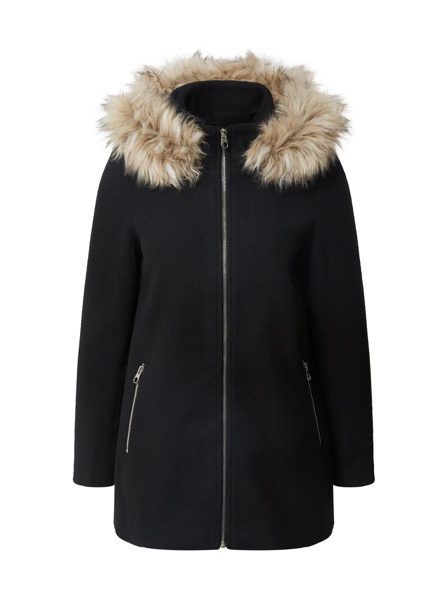 VERO MODA Přechodný kabát  černá / světle hnědá