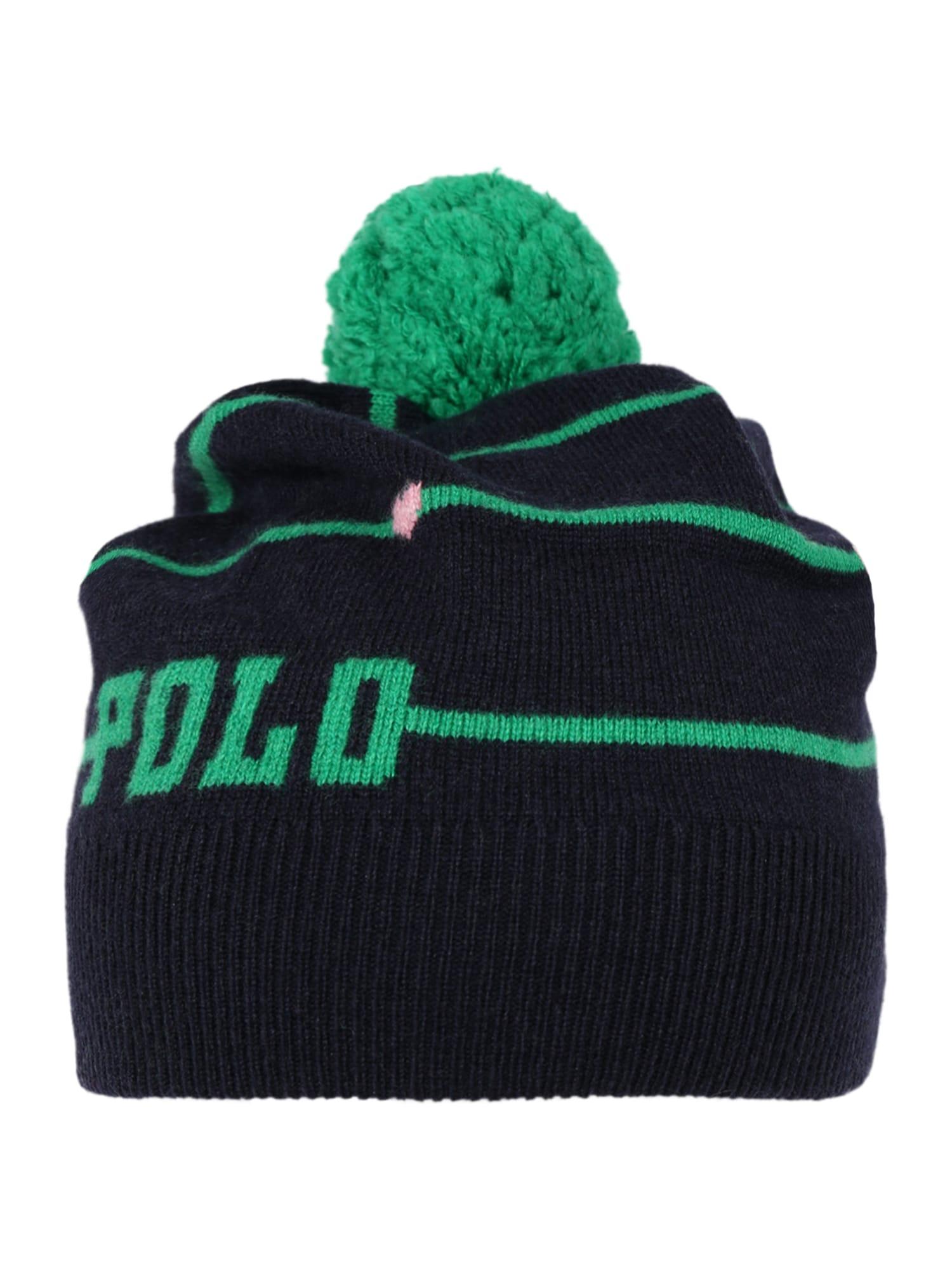 POLO RALPH LAUREN Megzta kepurė tamsiai mėlyna / žalia
