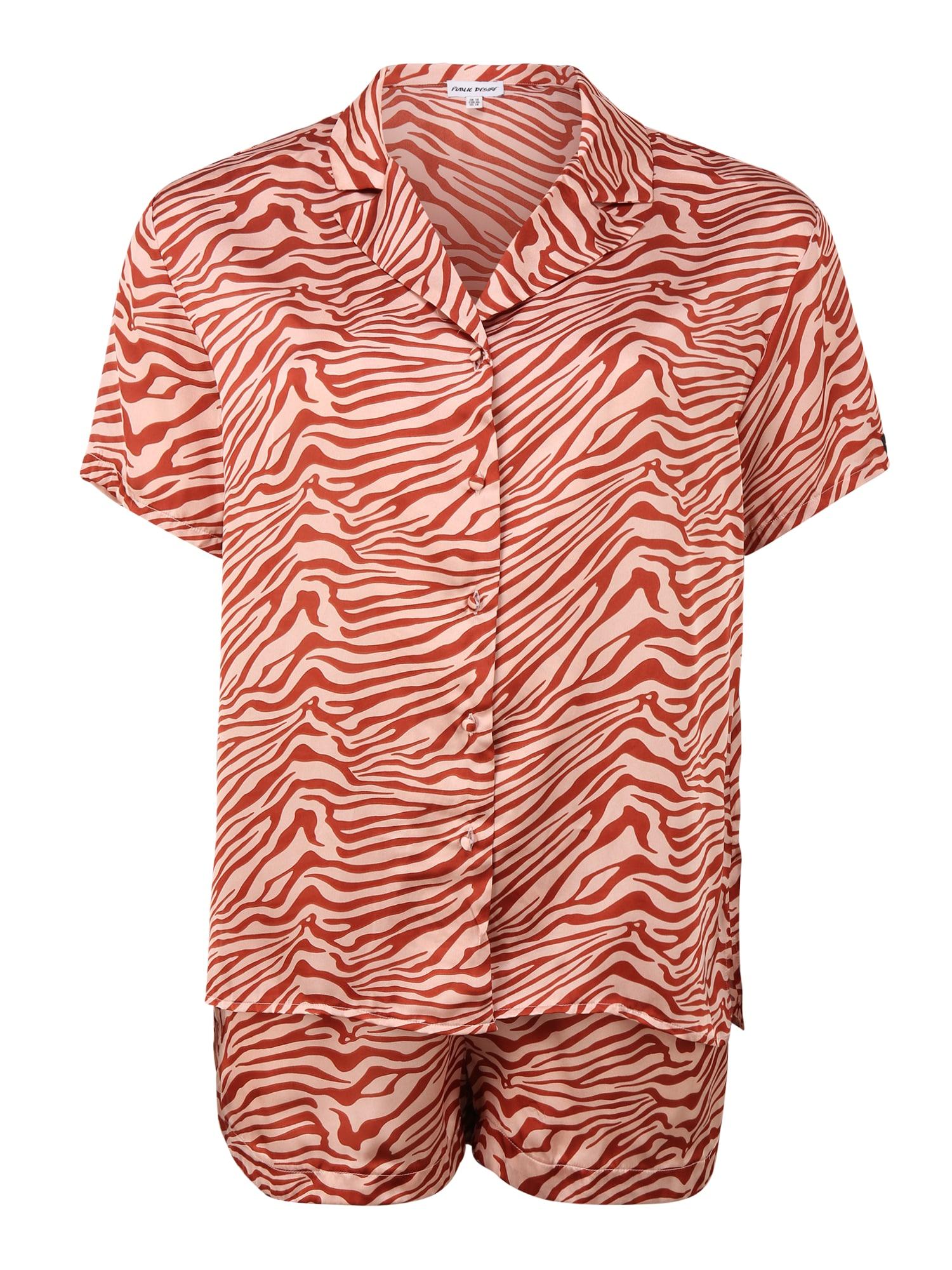 Public Desire Curve Pižama su šortais omarų spalva / pastelinė rožinė