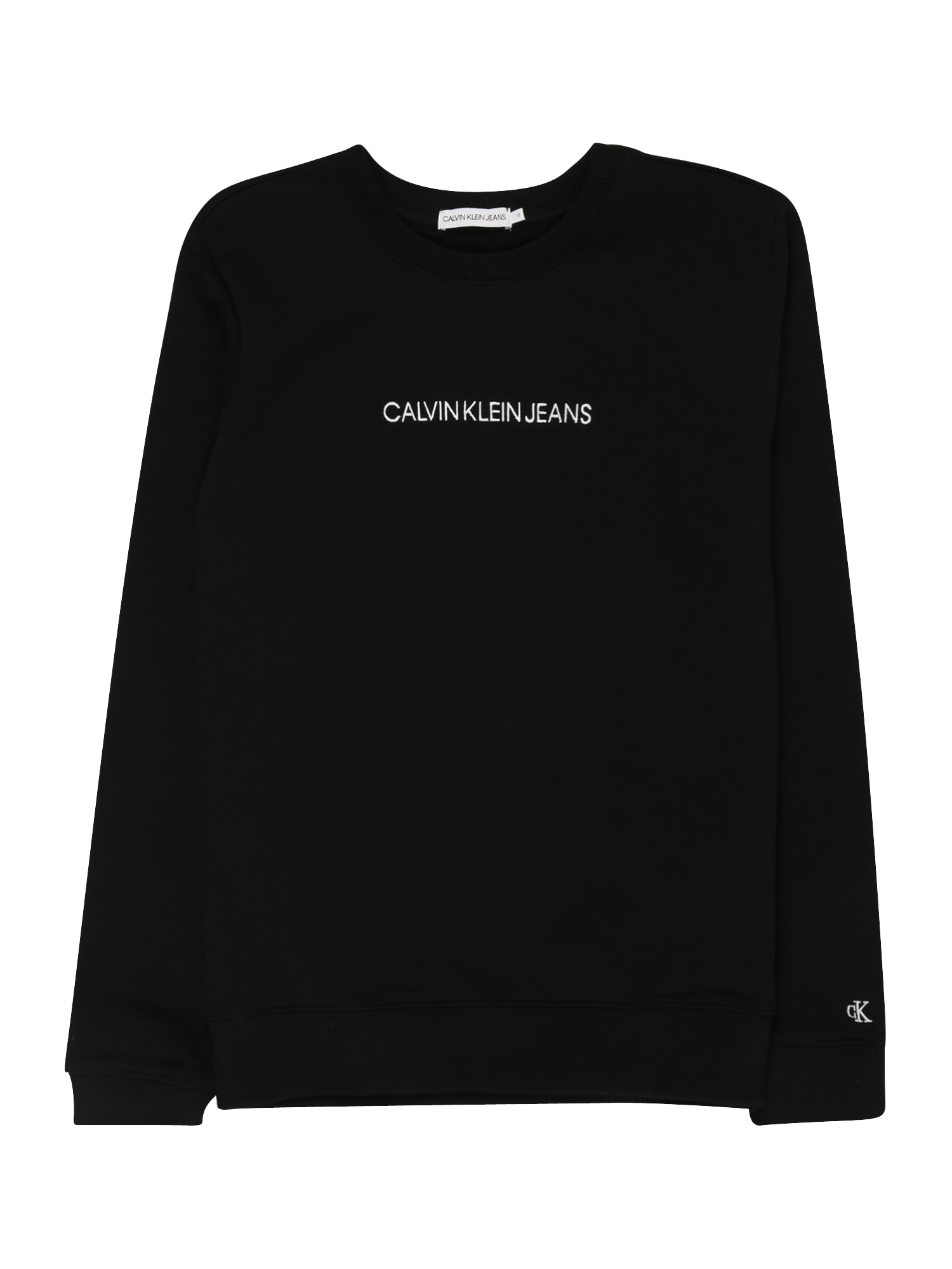 Calvin Klein Jeans Mikina 'EMBROIDERED'  černá / bílá