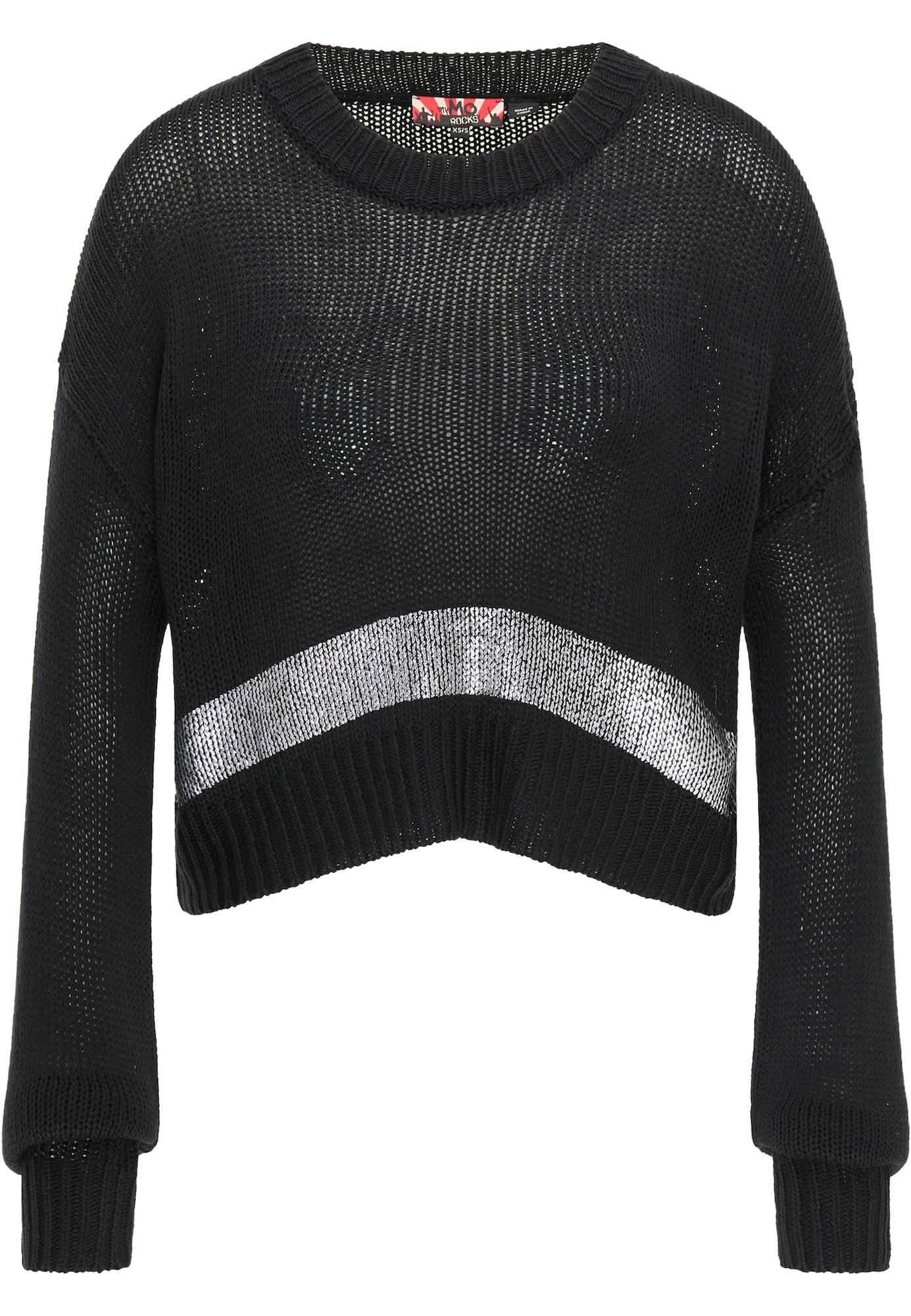 myMo ROCKS Megztinis juoda / sidabrinė