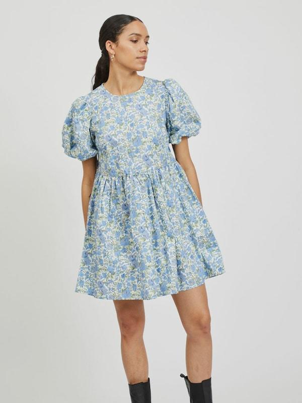 Vila Donna Puff Kurzarm bedrucktes Kleid