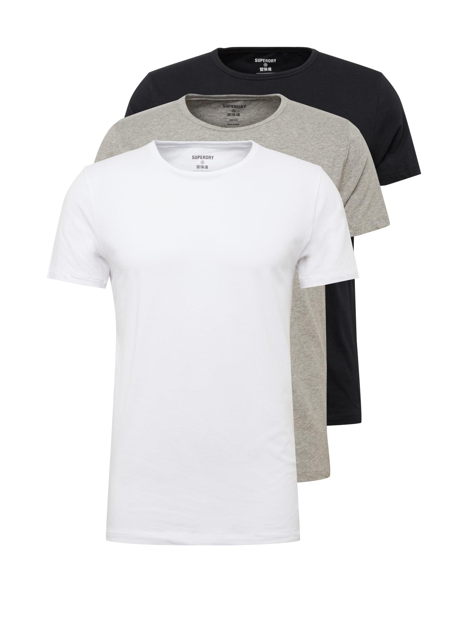 Superdry Apatiniai marškinėliai pilka / juoda / balkšva / mišrios spalvos