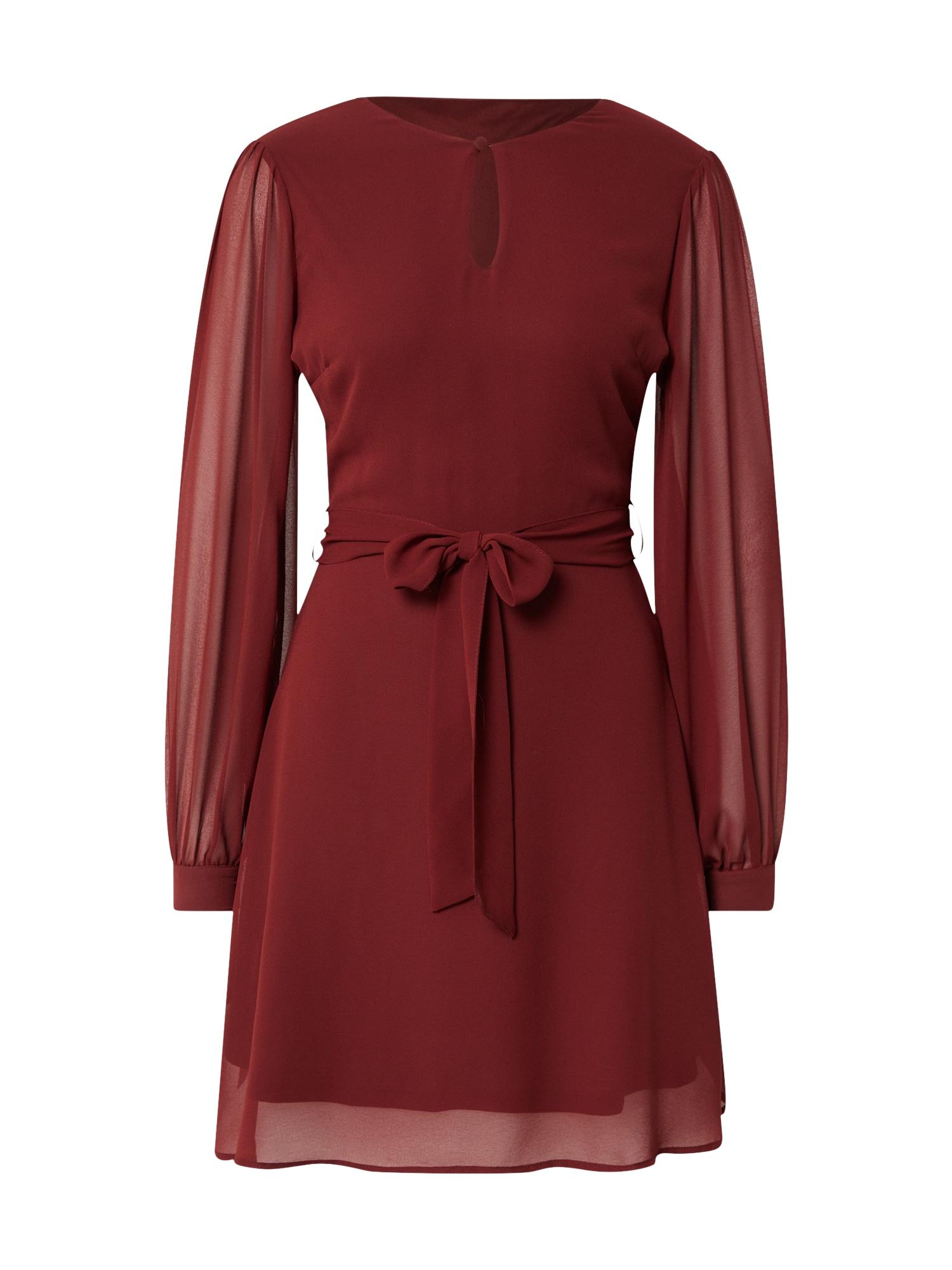 NU-IN Kokteilinė suknelė vyno raudona spalva