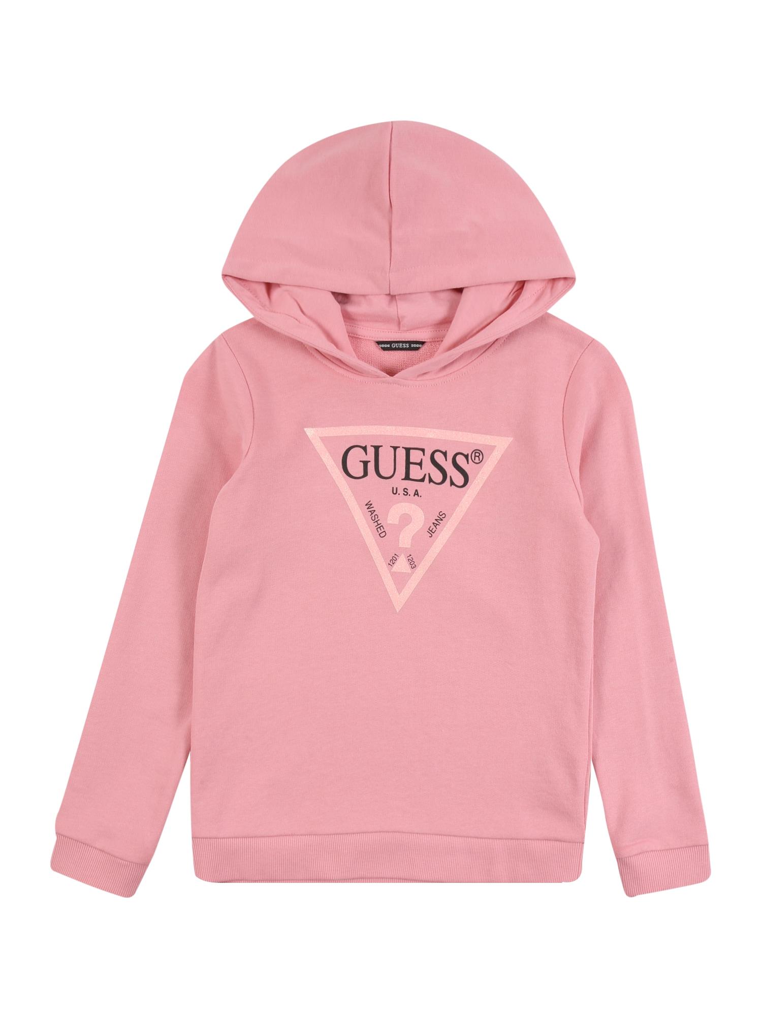 GUESS Megztinis be užsegimo ryškiai rožinė spalva / rožių spalva / juoda