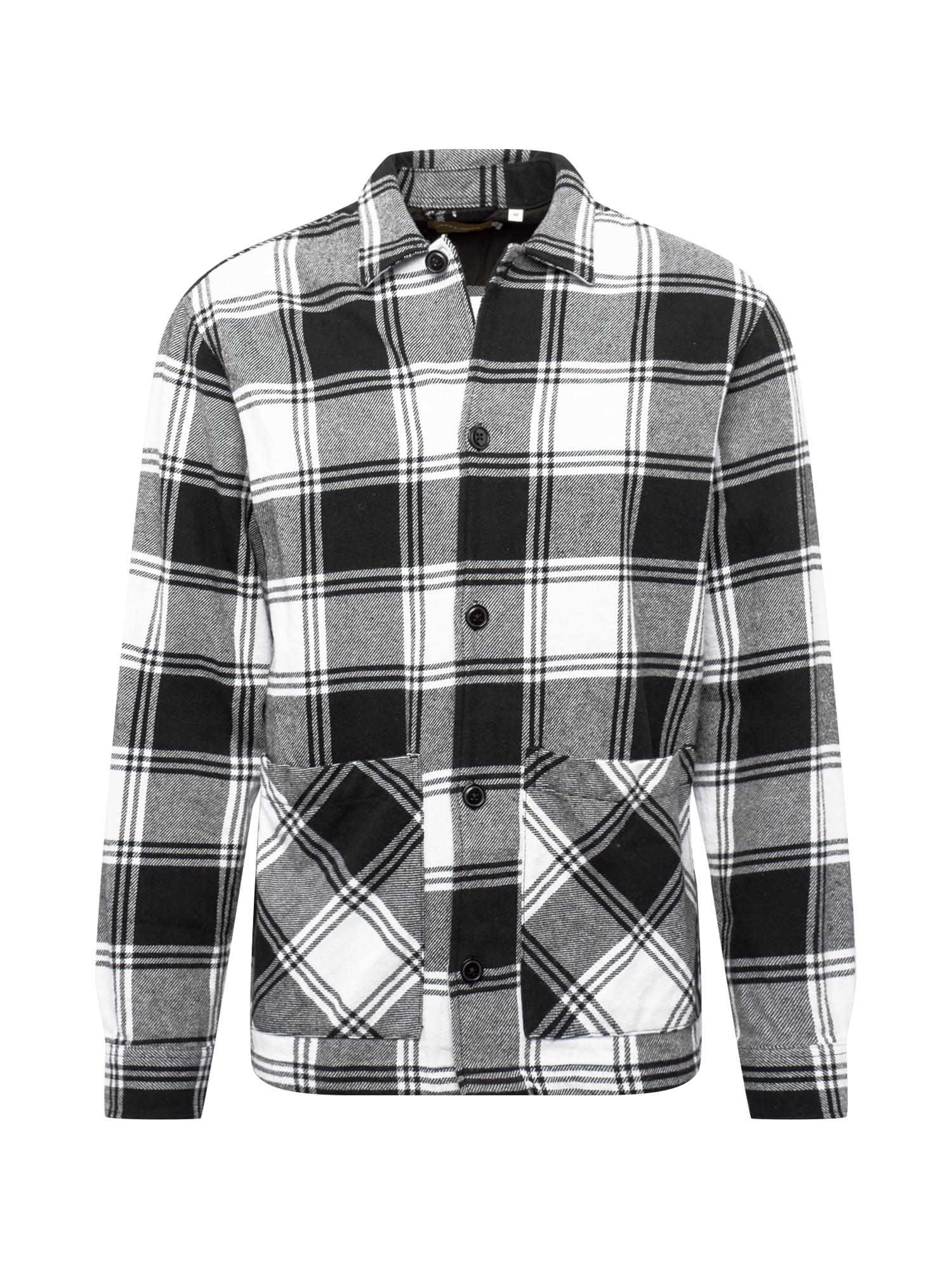JACK & JONES Marškiniai balta / juoda