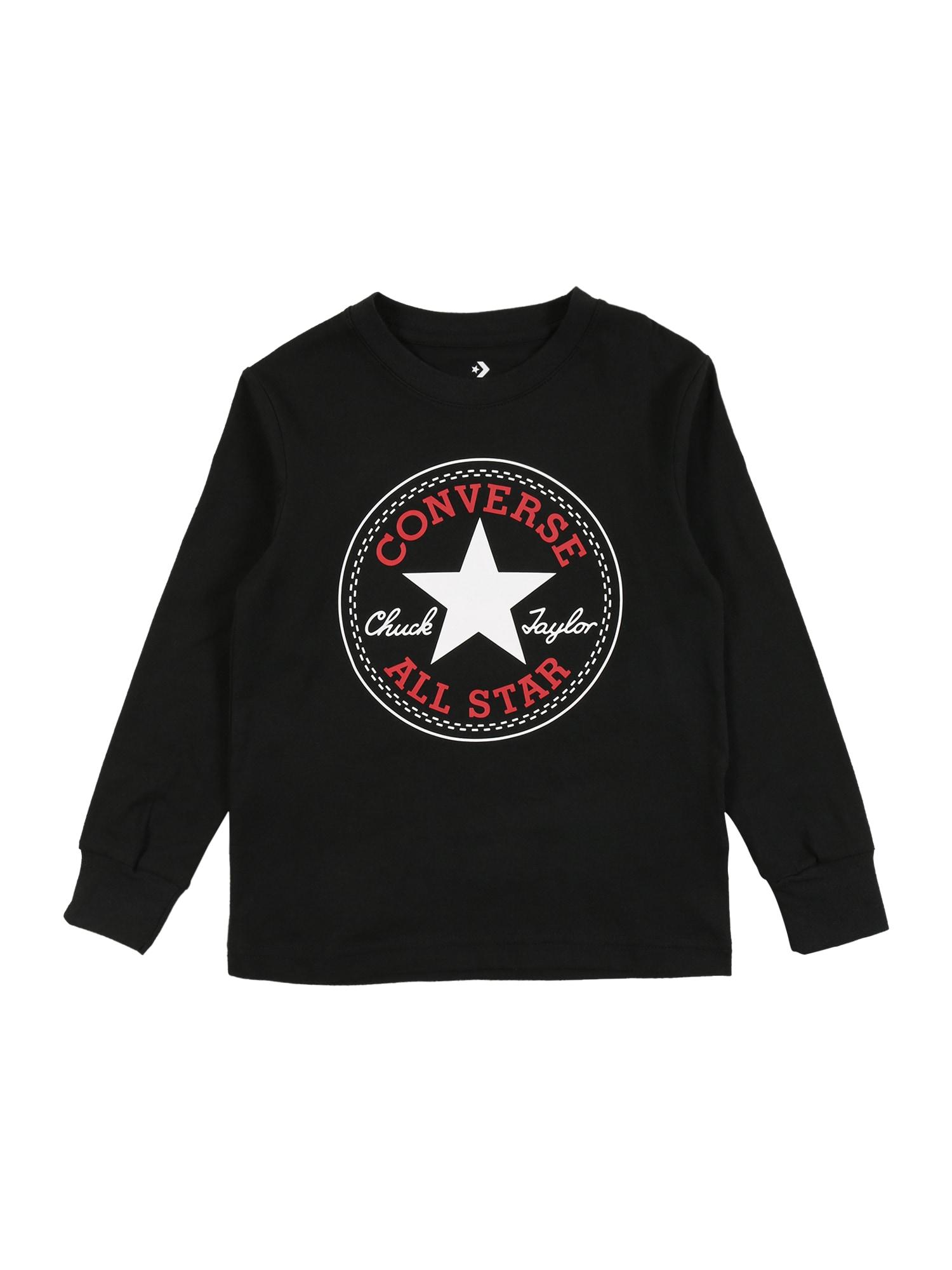 CONVERSE Marškinėliai juoda / balta / raudona