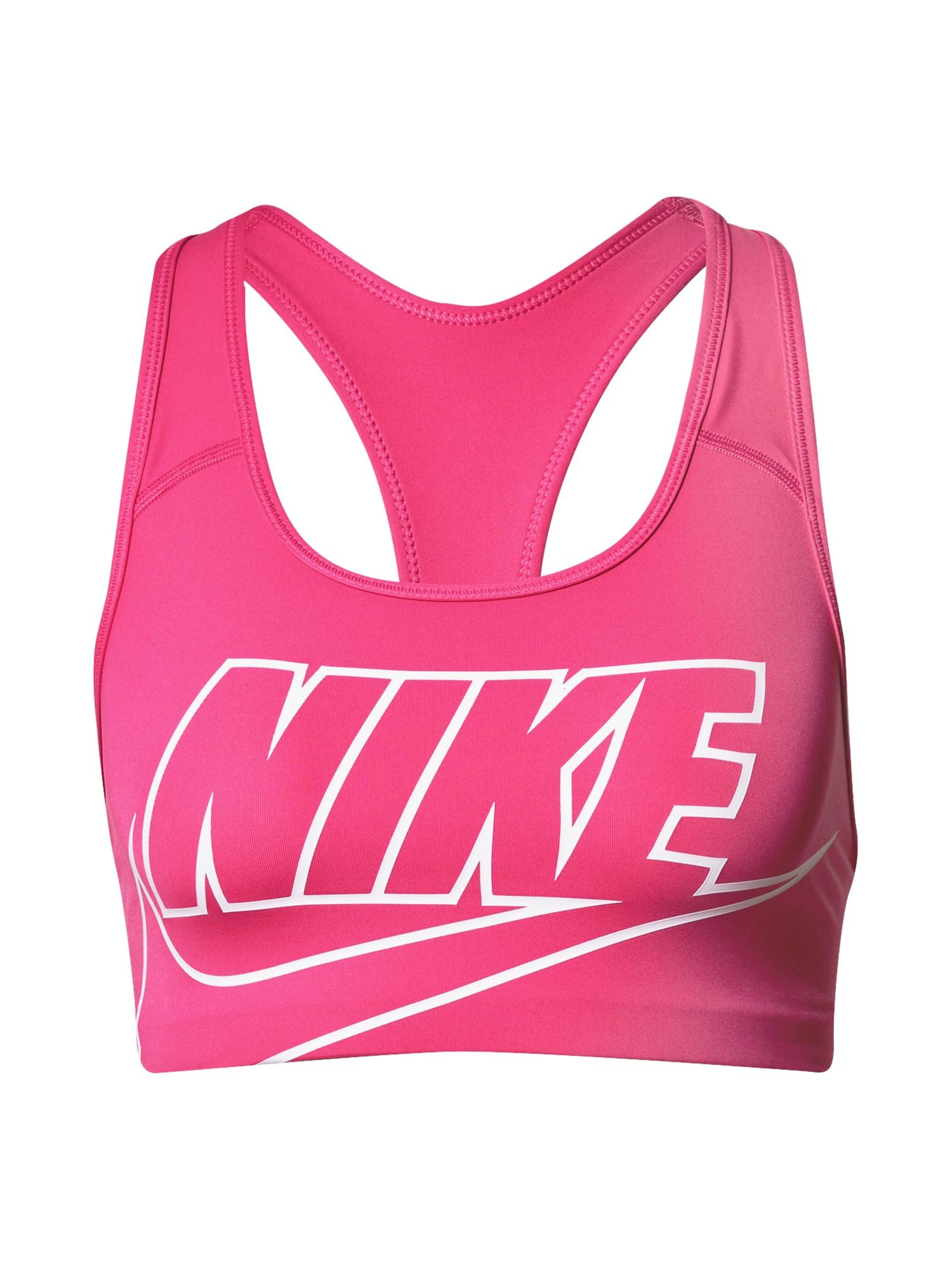 NIKE Sportovní podprsenka 'SWOOSH FUTURA'  bílá / pink