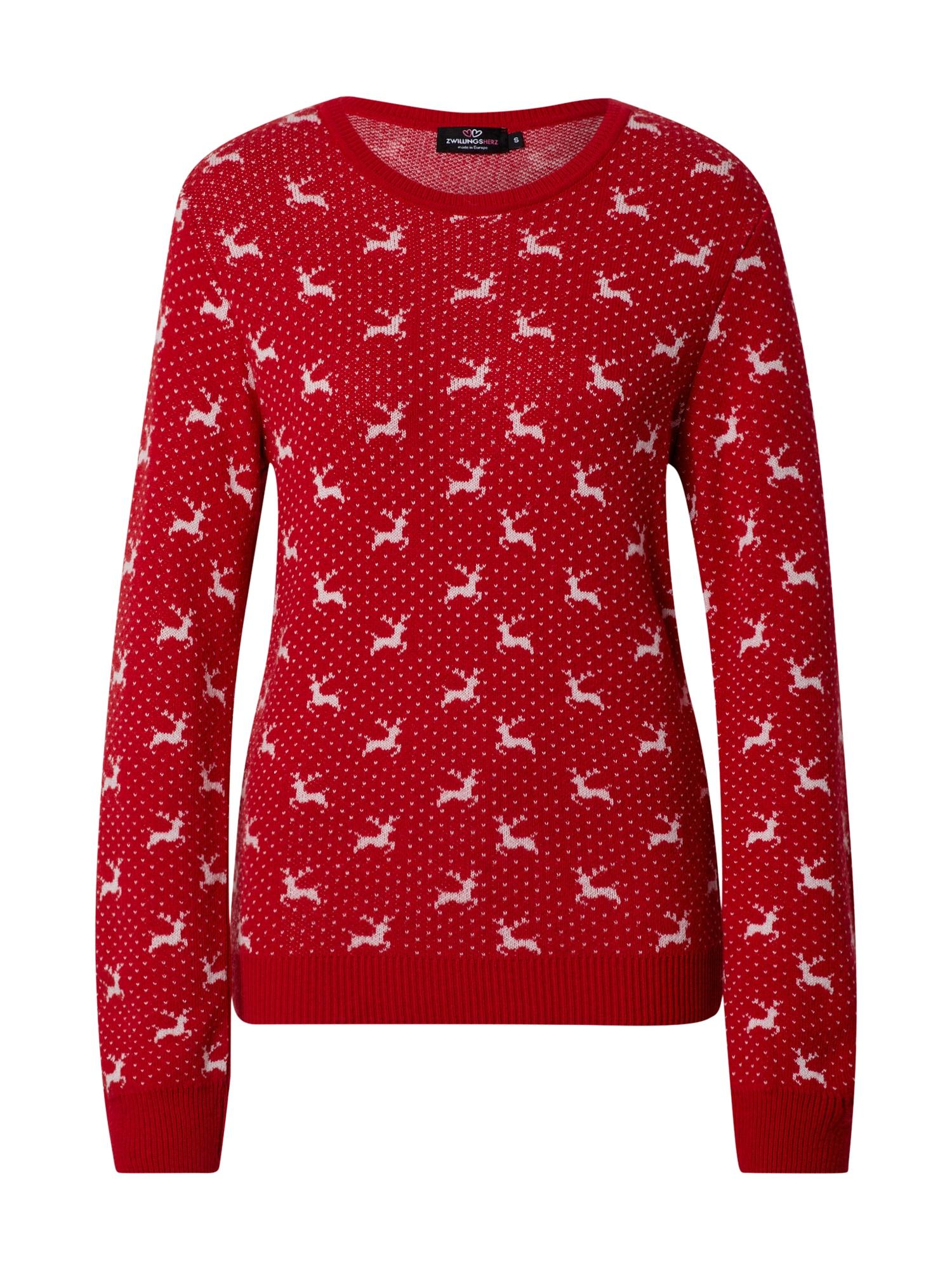 Zwillingsherz Megztinis raudona / balta