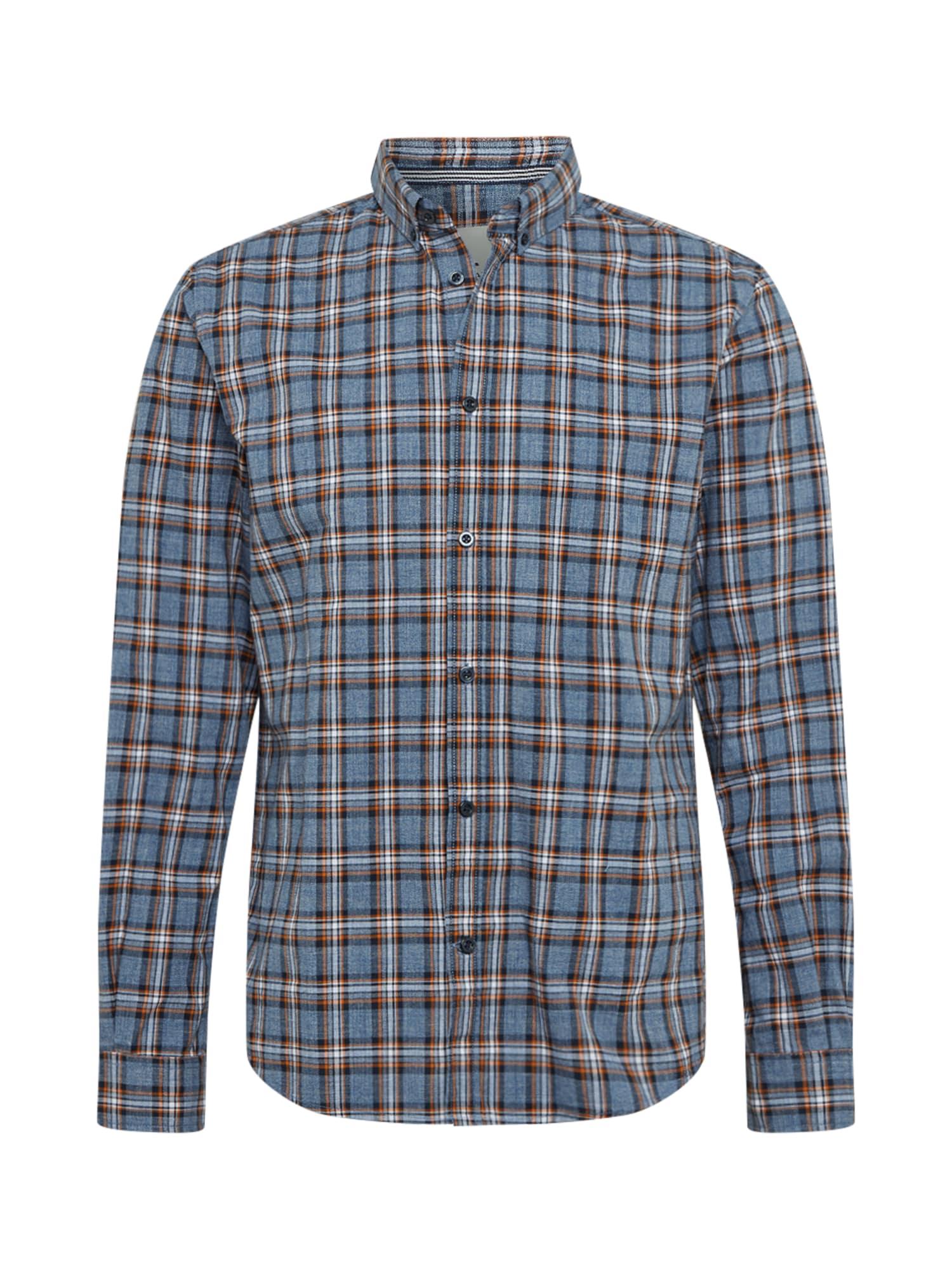 TOM TAILOR Marškiniai tamsiai mėlyna / oranžinė / opalo