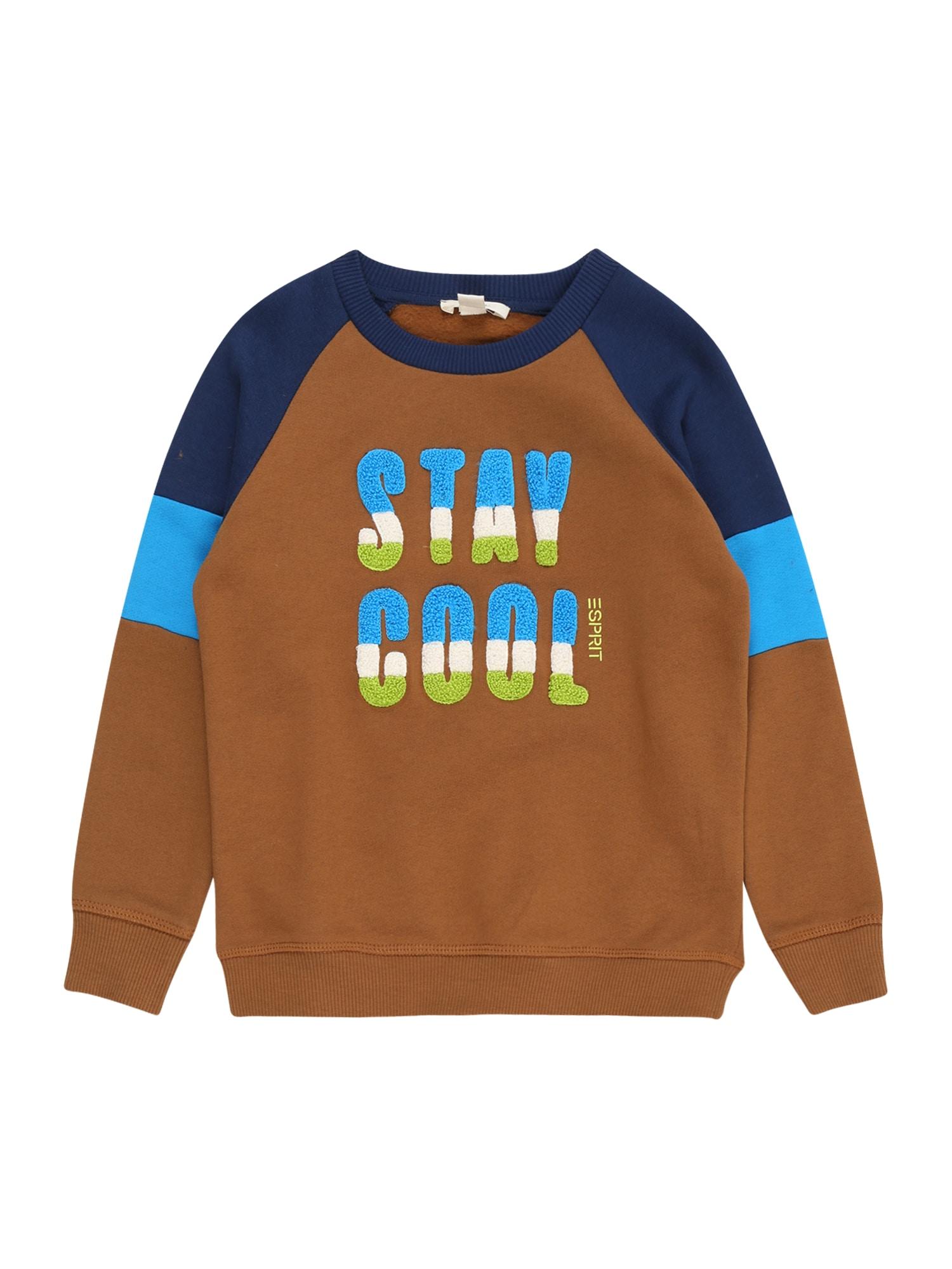 ESPRIT Megztinis be užsegimo ruda / šviesiai mėlyna / mėlyna
