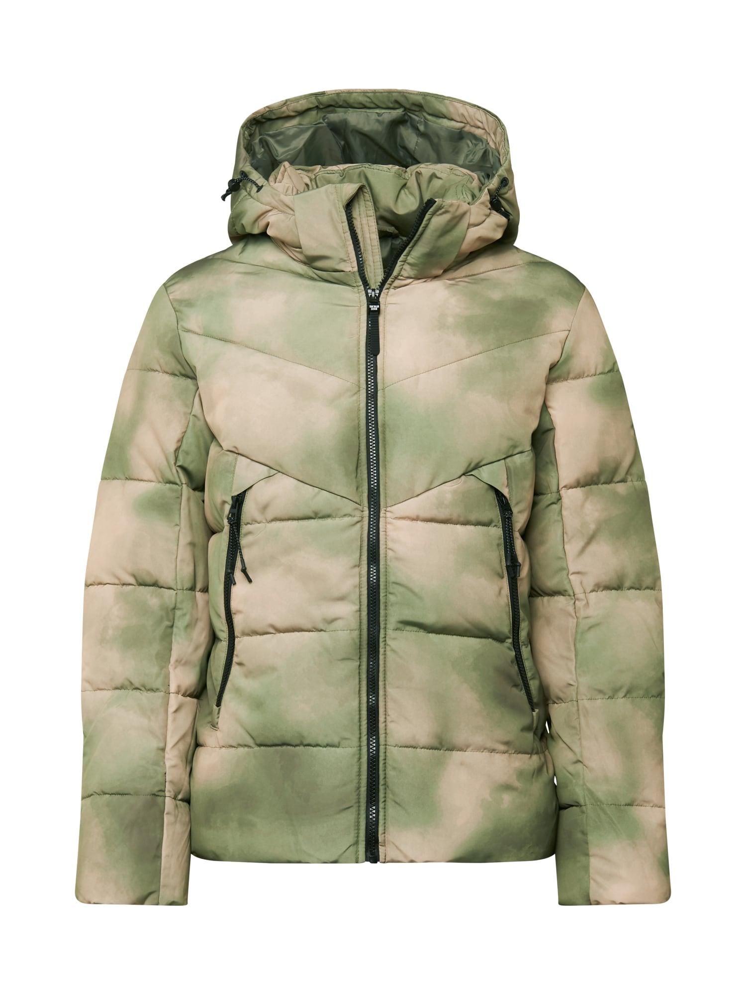TOM TAILOR DENIM Zimní bunda  světle zelená / tmavě zelená