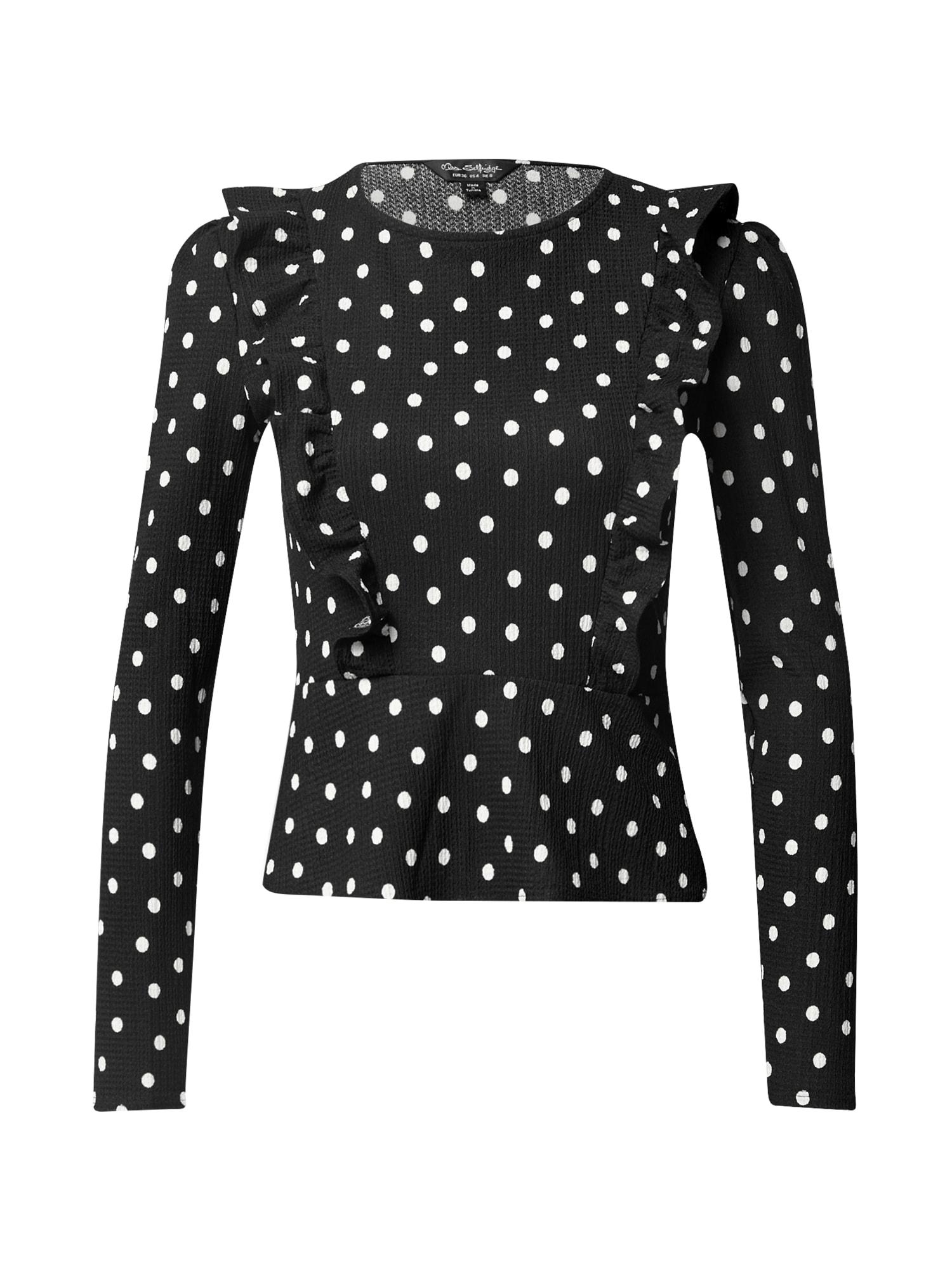 Miss Selfridge Marškinėliai juoda / balta