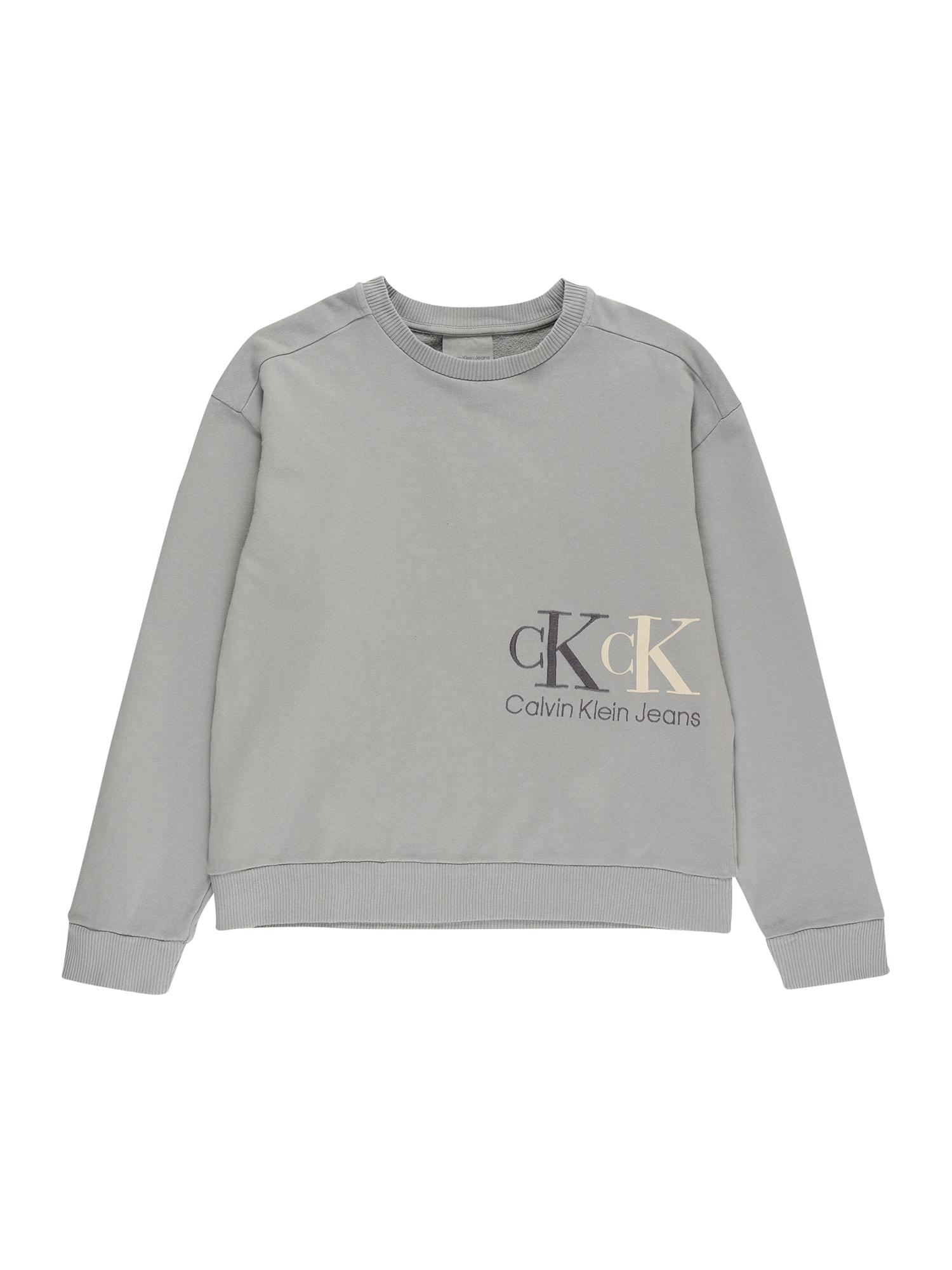Calvin Klein Jeans Megztinis be užsegimo pilka / antracito spalva / smėlio spalva