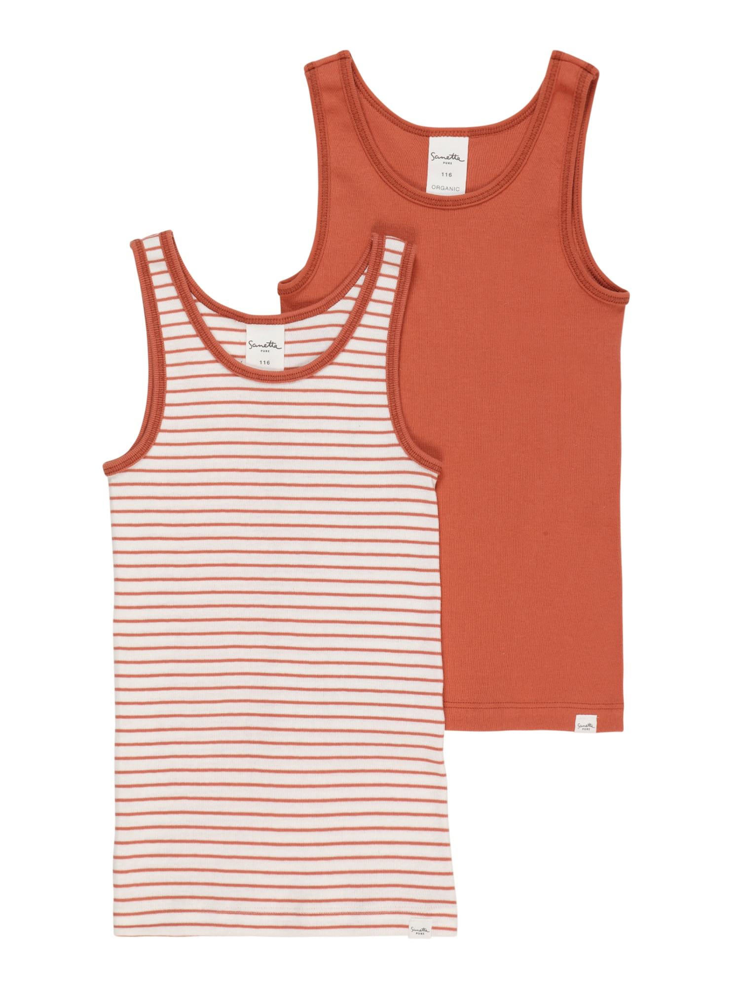 Sanetta Pure Apatiniai marškinėliai rūdžių raudona / balta