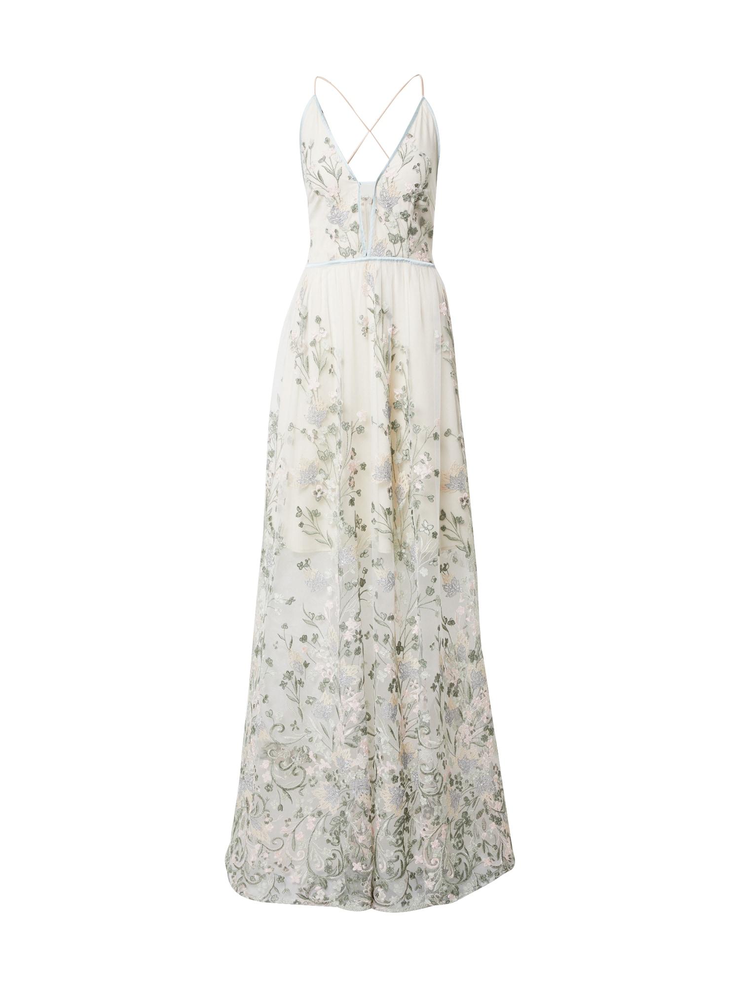 True Decadence Vakarinė suknelė mėtų spalva / balta / šviesiai žalia