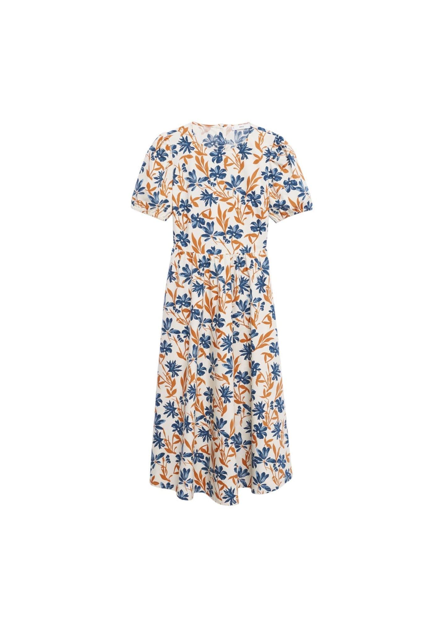 MANGO Letní šaty  bílá / hnědá / modrá