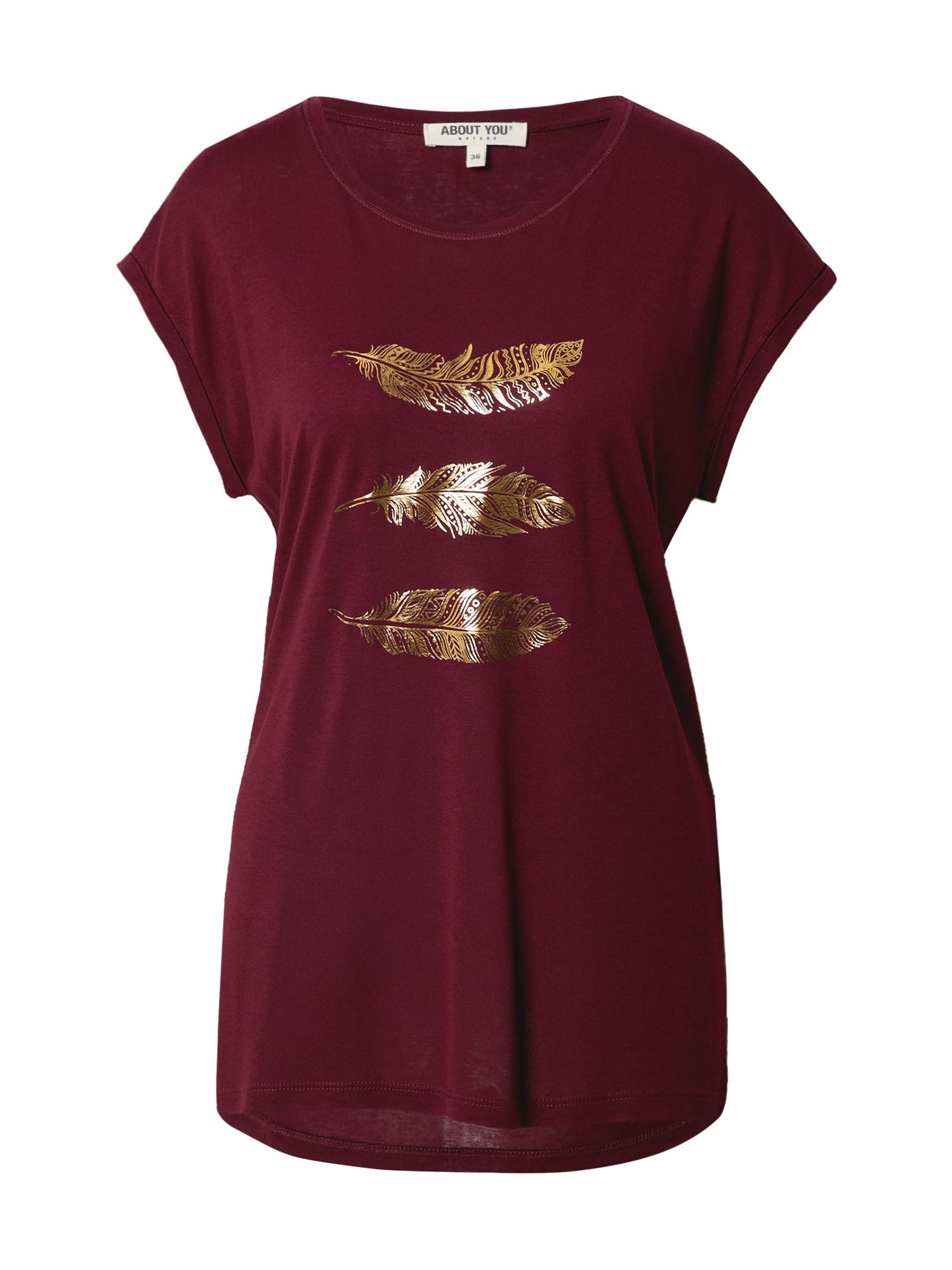 ABOUT YOU Marškinėliai 'Antoinetta' vyno raudona spalva