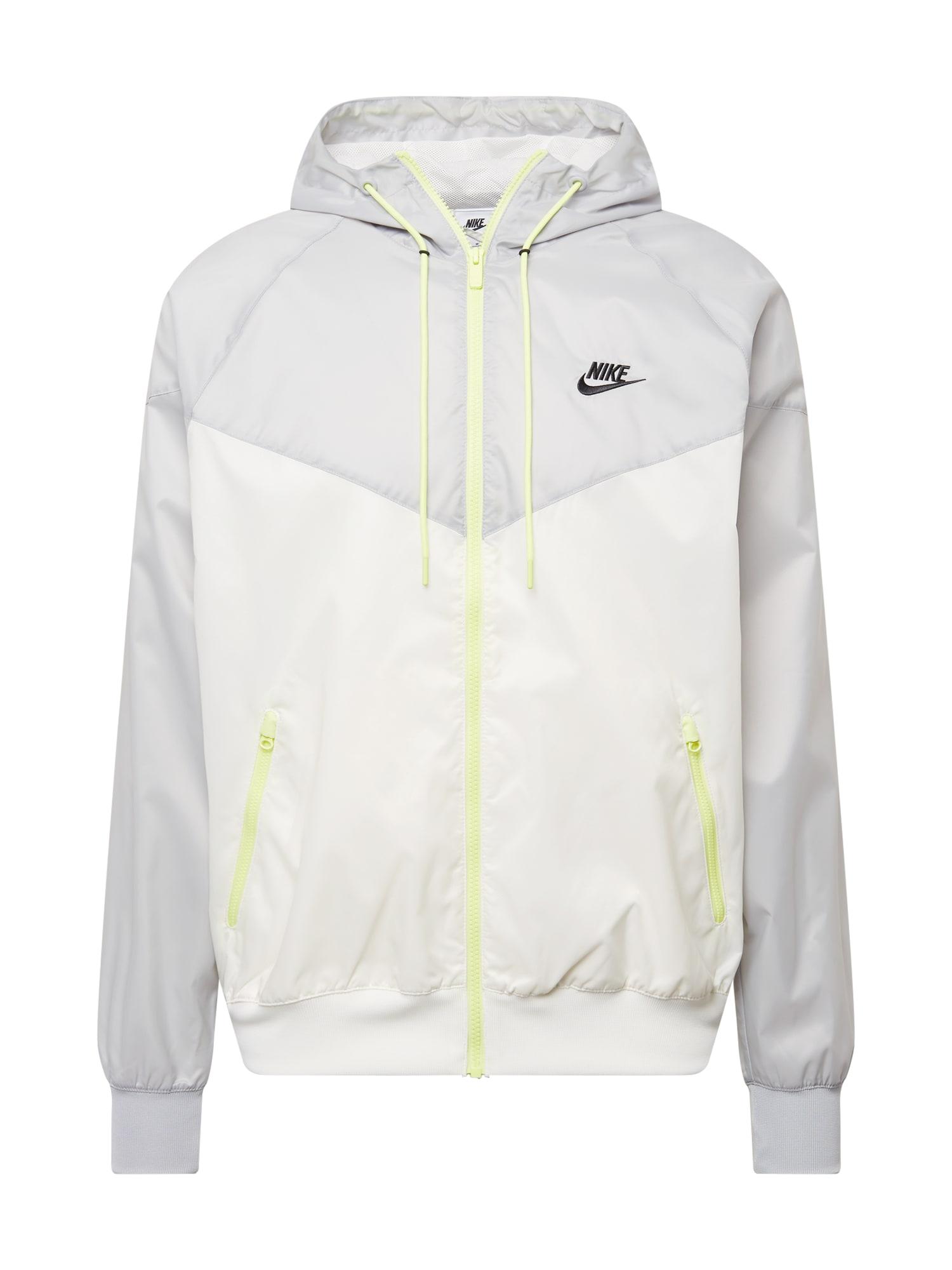 Nike Sportswear Demisezoninė striukė šviesiai pilka / neoninė geltona / juoda / balta