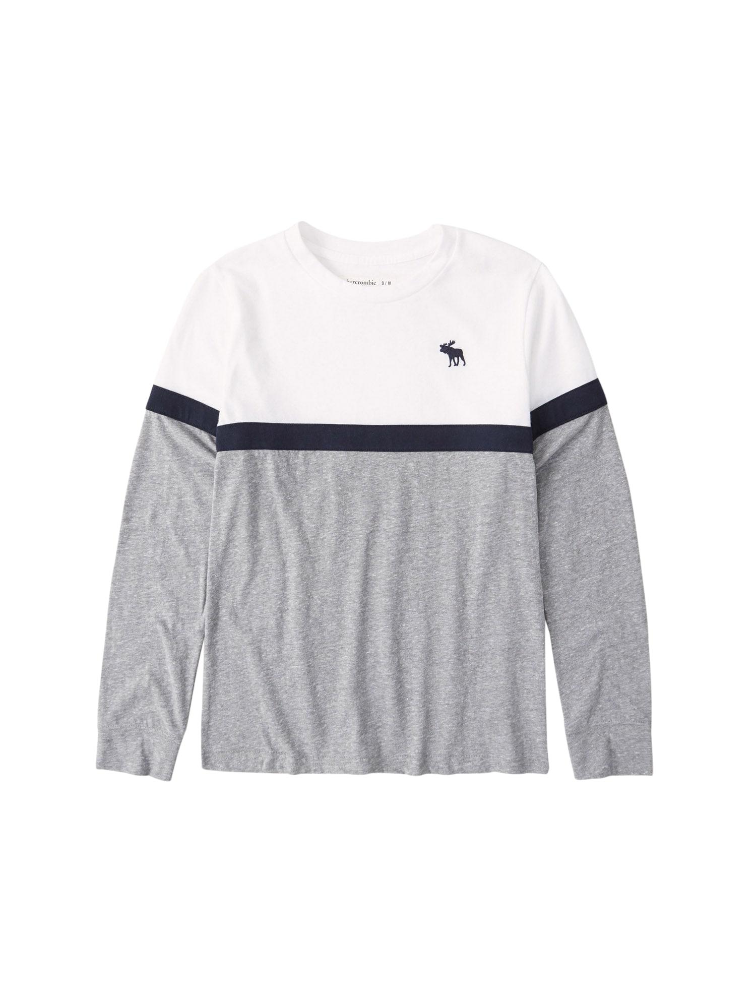Abercrombie & Fitch Marškinėliai balta / tamsiai mėlyna / pilka