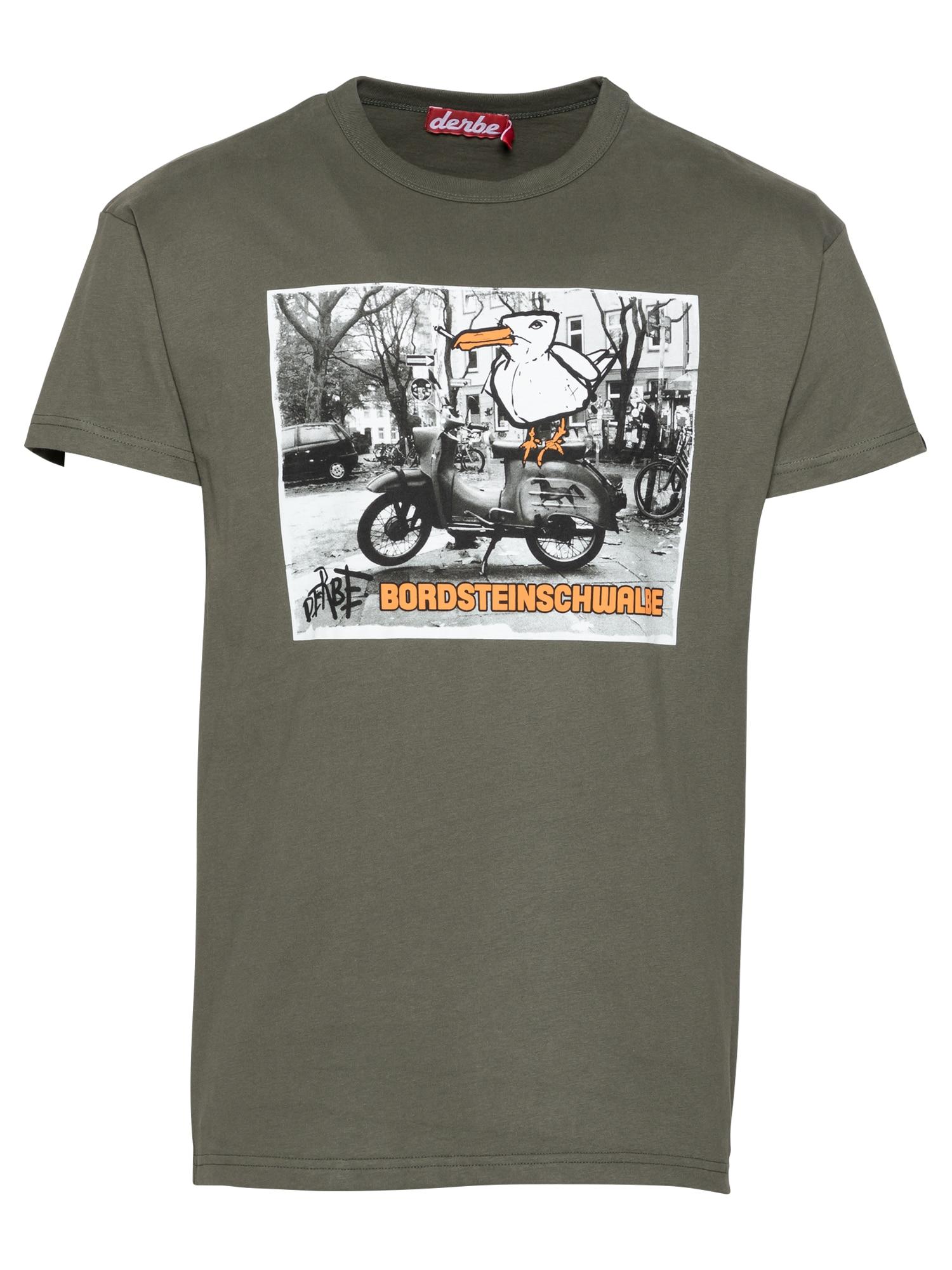 Derbe Marškinėliai alyvuogių spalva / balta / pilka / oranžinė