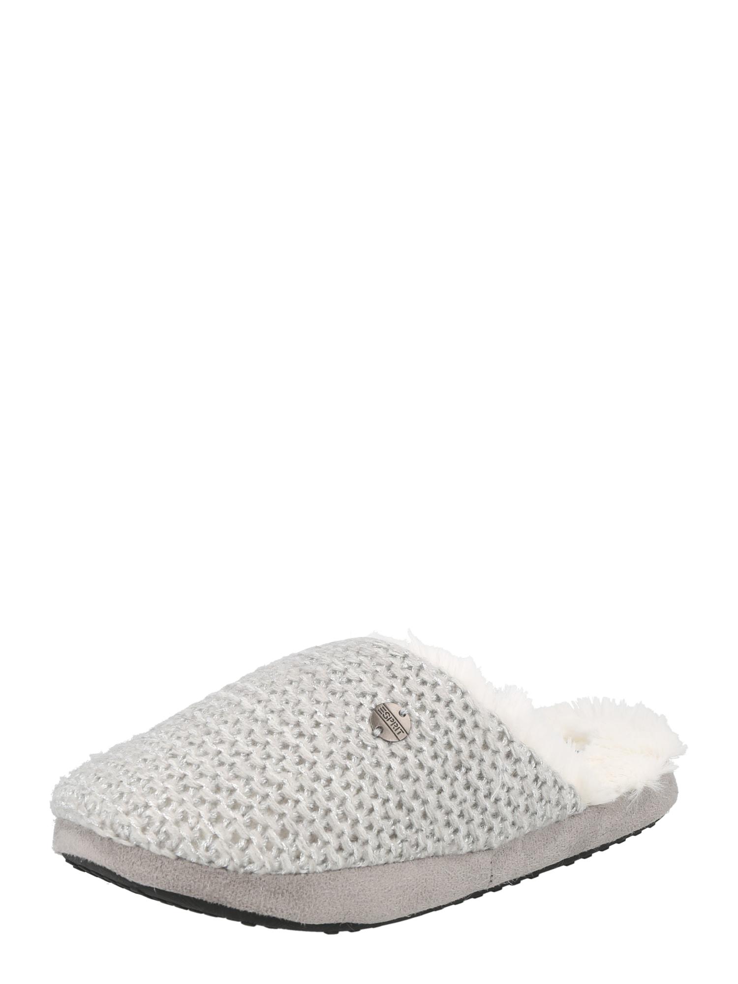 ESPRIT Papuče  strieborná / svetlosivá / biela
