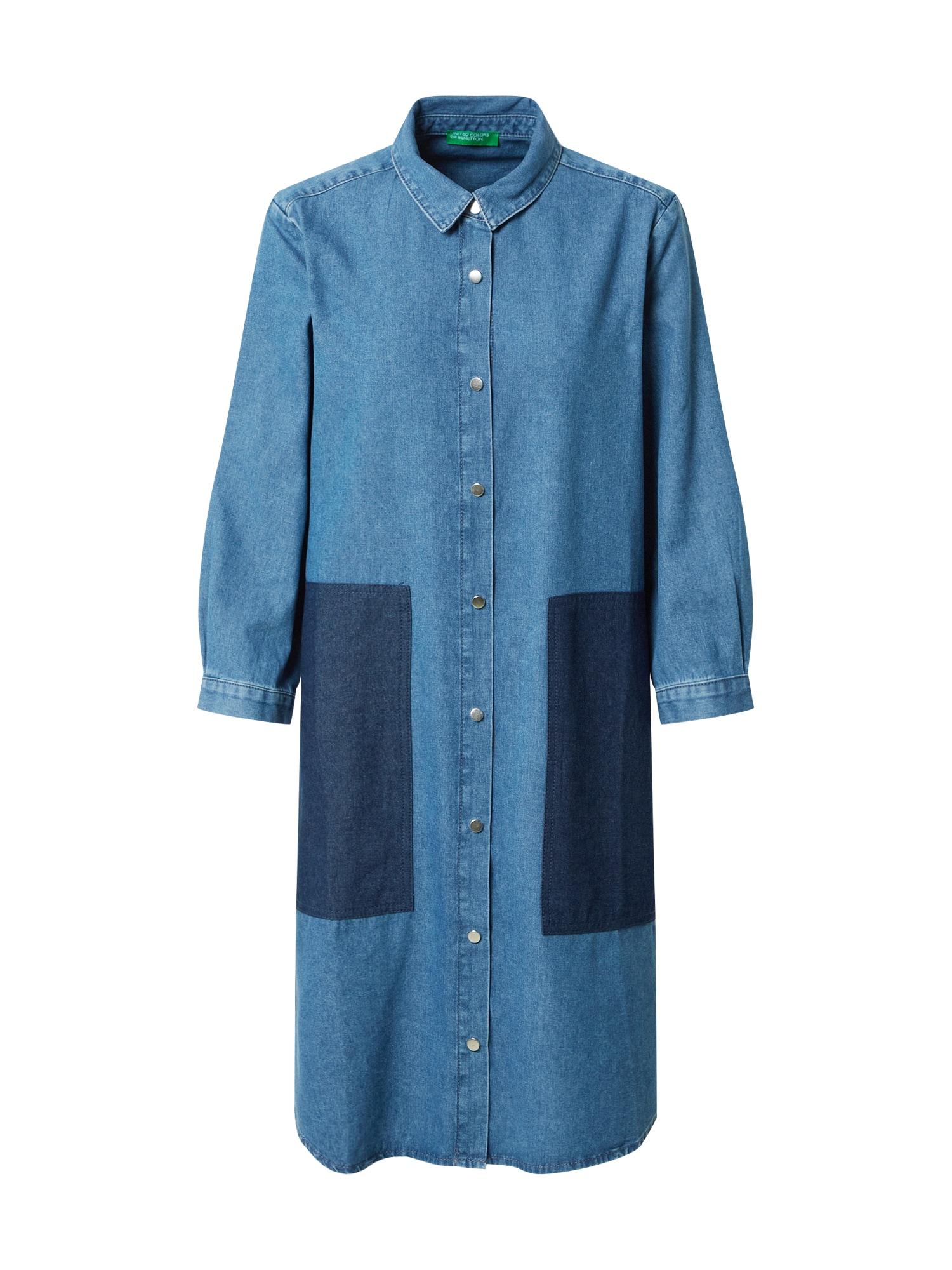 UNITED COLORS OF BENETTON Košilové šaty  modrá džínovina / tmavě modrá