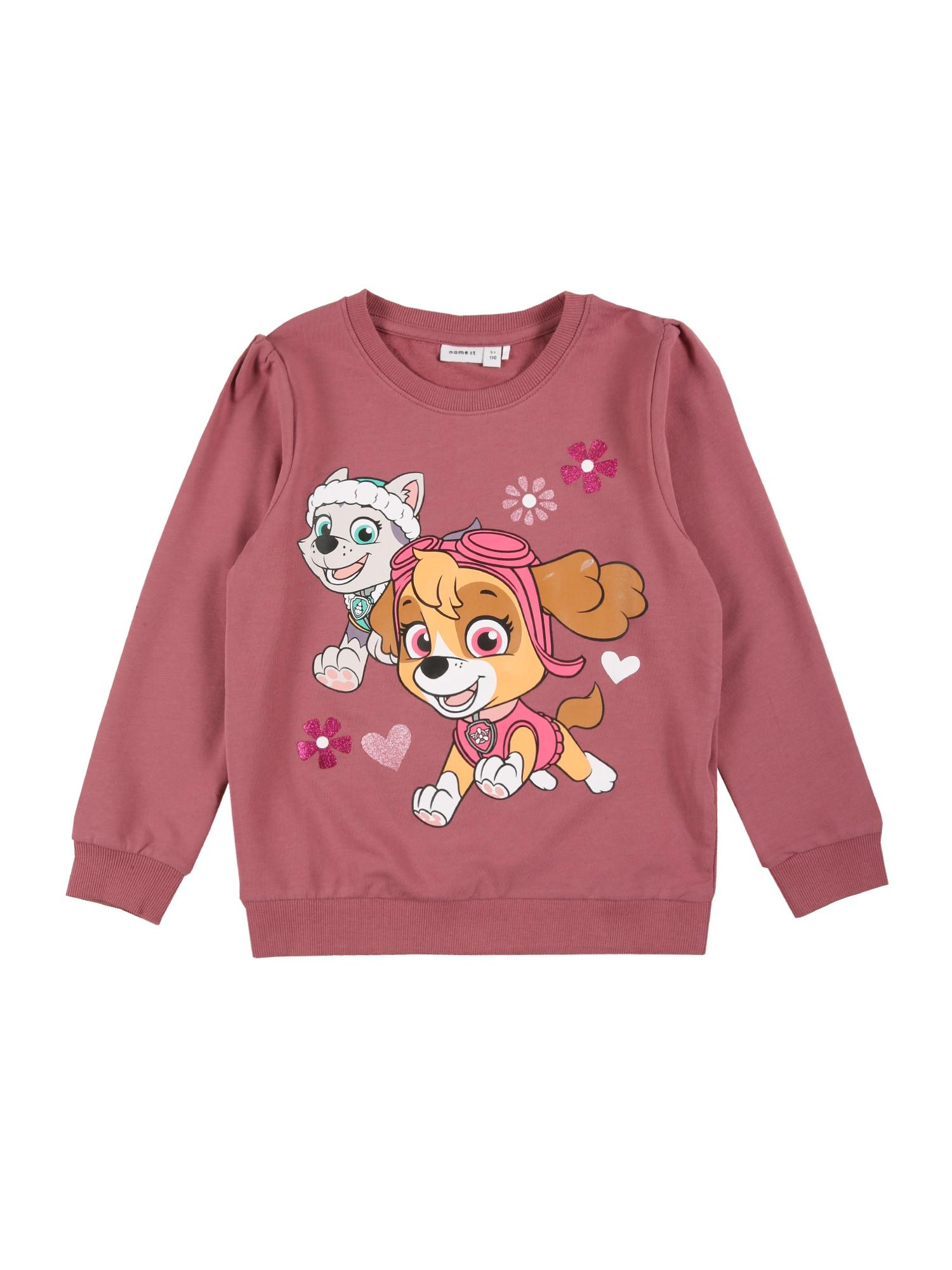 NAME IT Megztinis be užsegimo 'PAWPATROL' ryškiai rožinė spalva / balta / šviesiai ruda / rožinė / nefrito spalva