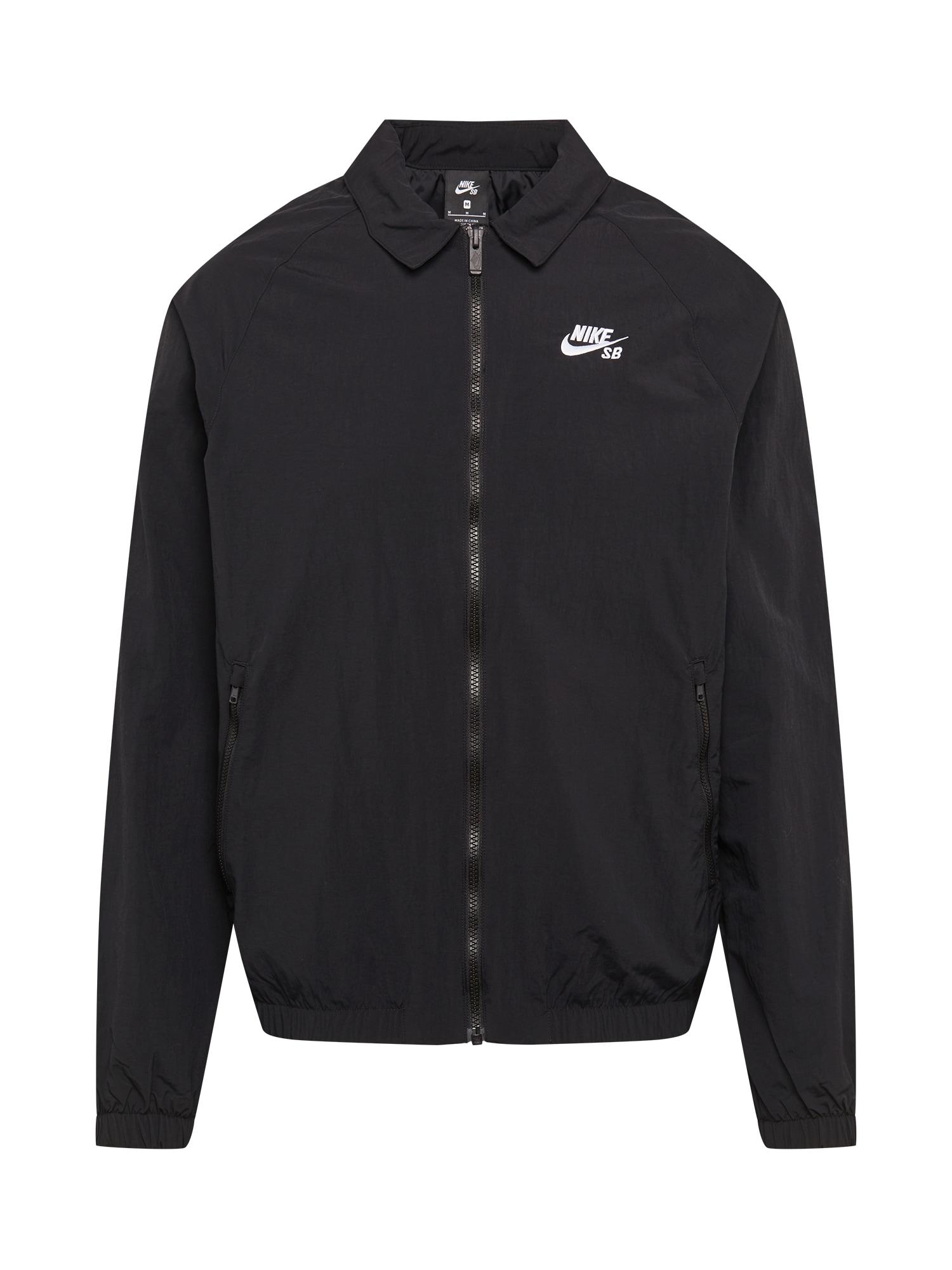Nike SB Demisezoninė striukė juoda / balta