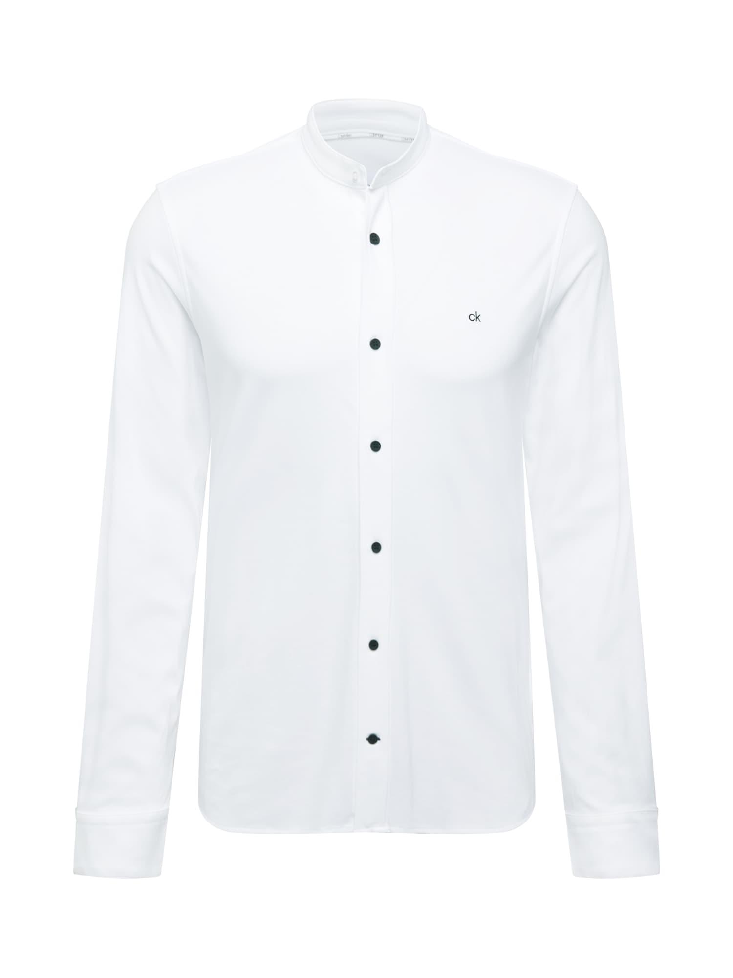Calvin Klein Dalykinio stiliaus marškiniai balta / juoda