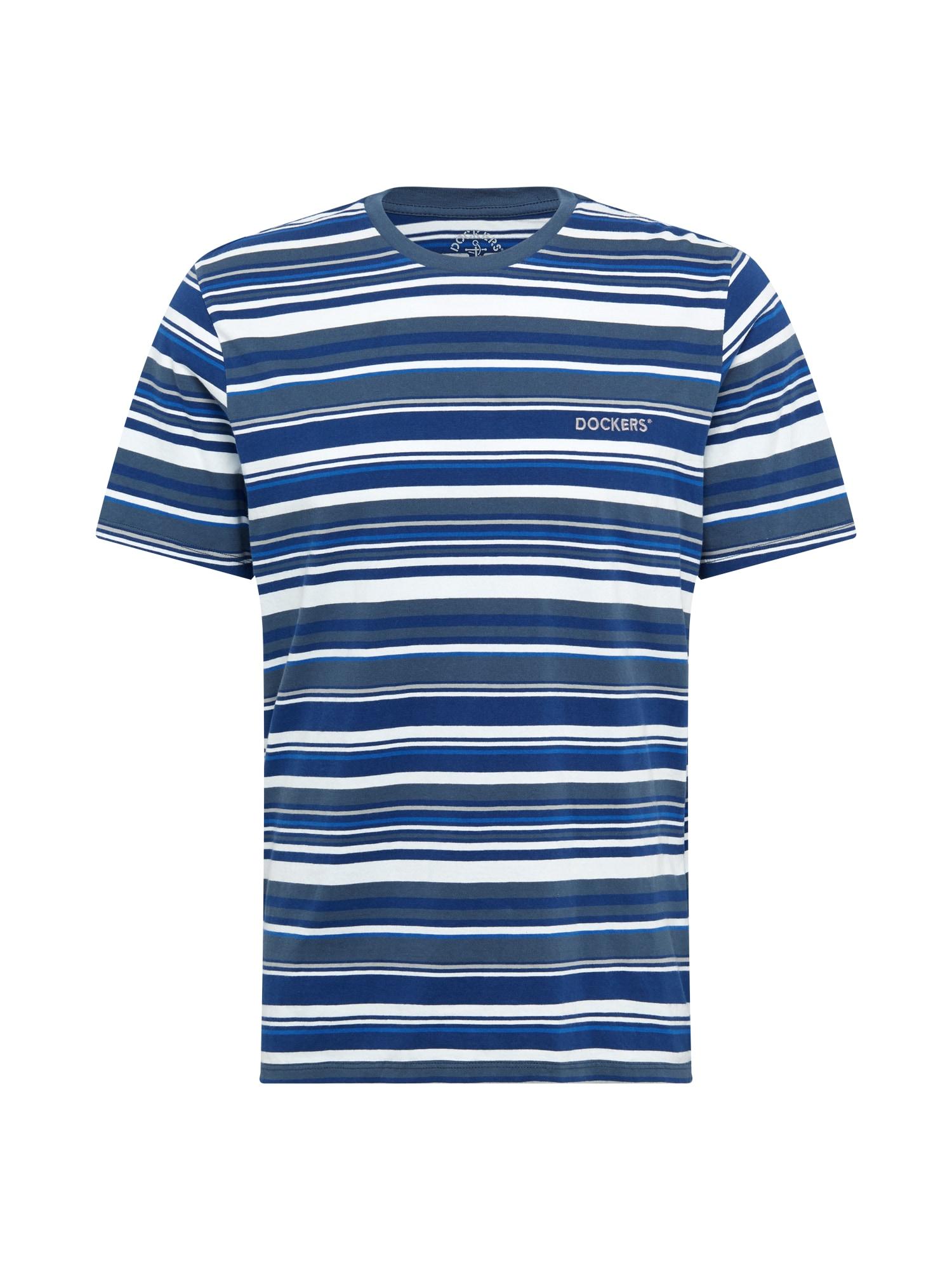 Dockers Marškinėliai melsvai pilka / tamsiai mėlyna / balta