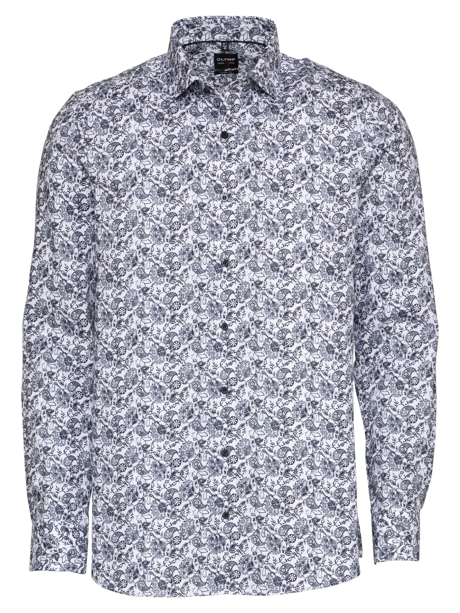 OLYMP Marškiniai tamsiai mėlyna / balta