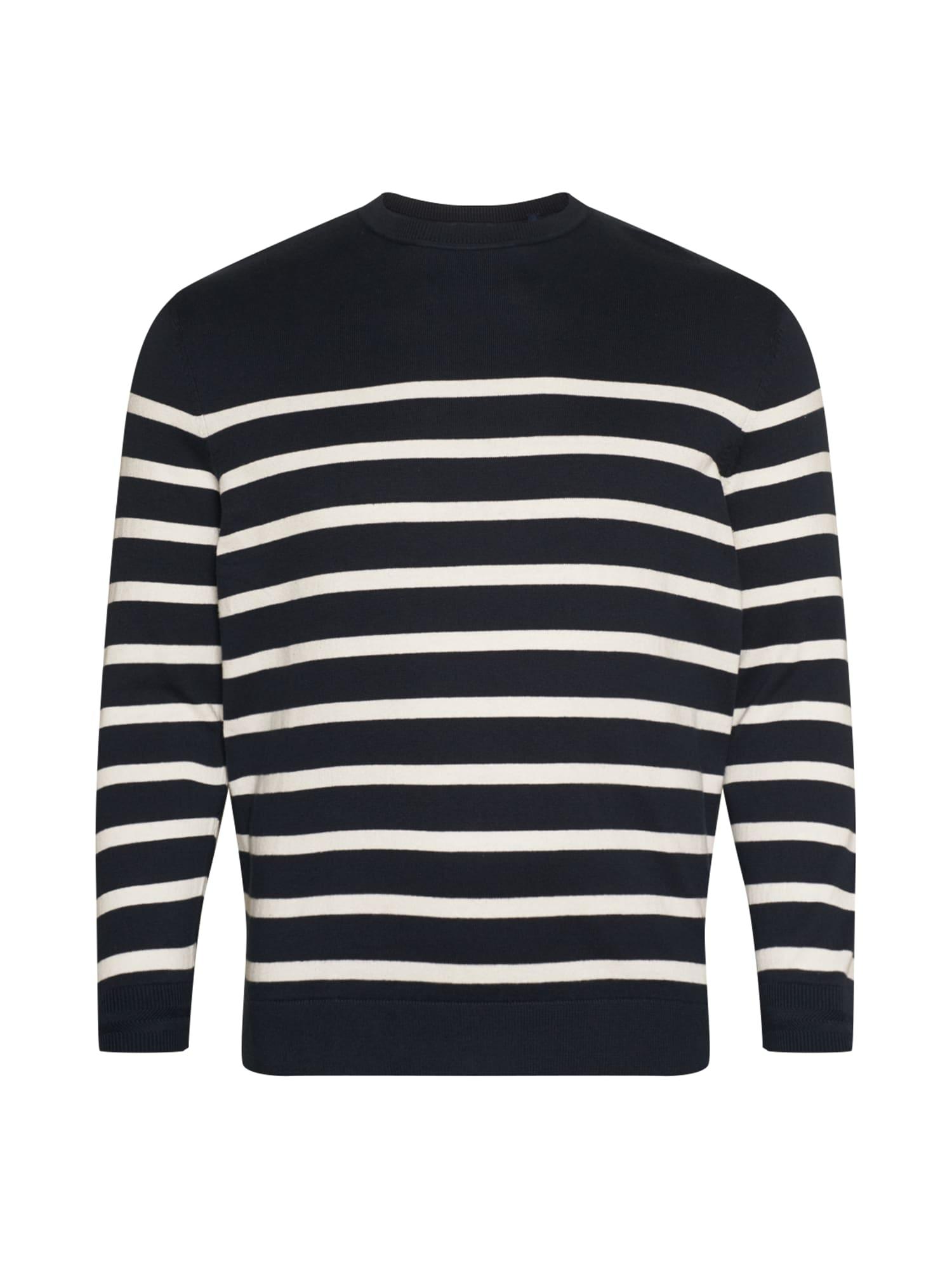 TOM TAILOR Men + Megztinis be užsegimo tamsiai mėlyna / balta