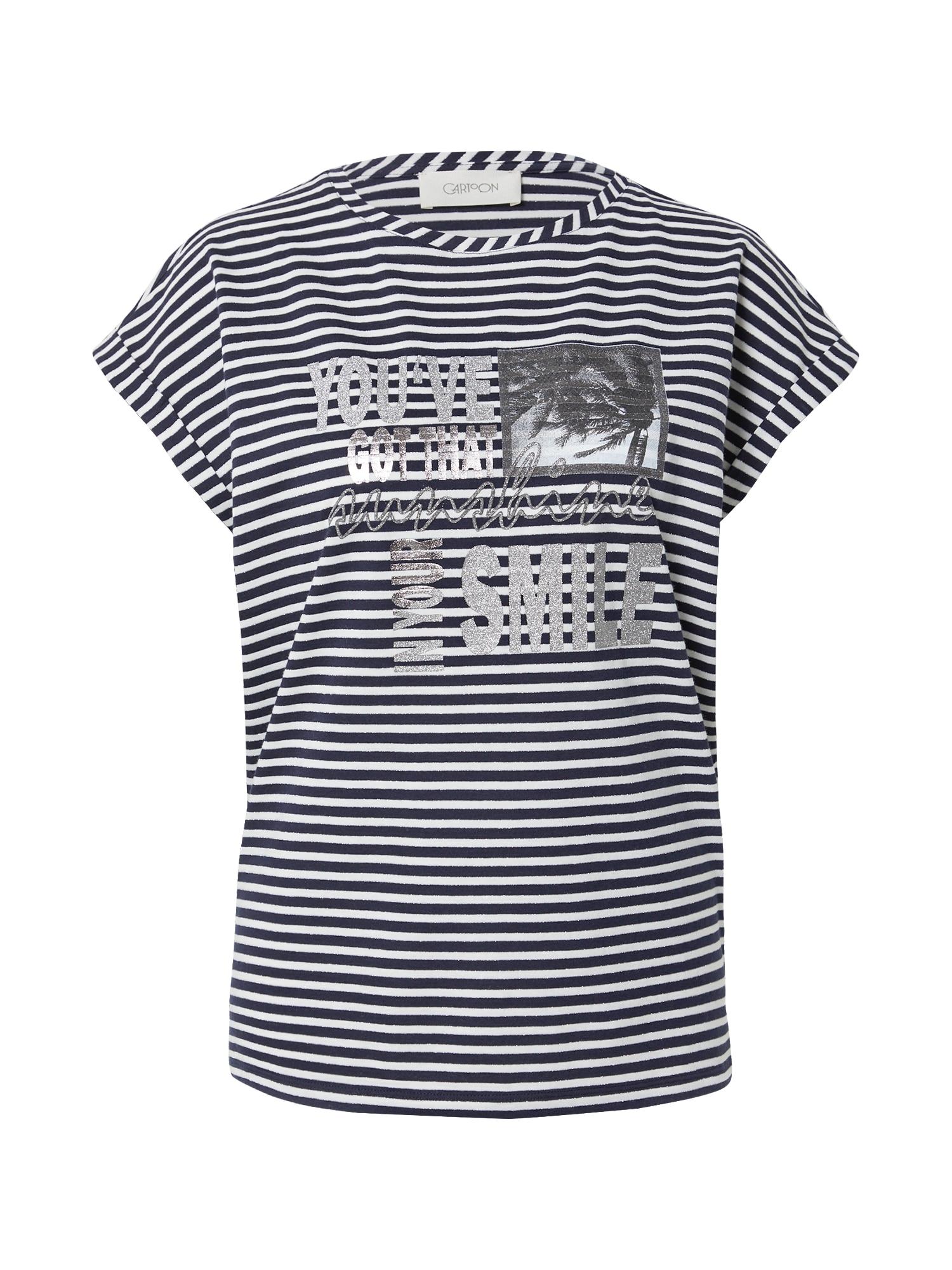 Cartoon Marškinėliai balta / juoda / tamsiai pilka / sidabrinė