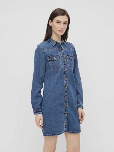 Pieces Perry Long Sleeve Button Down Denim Dress