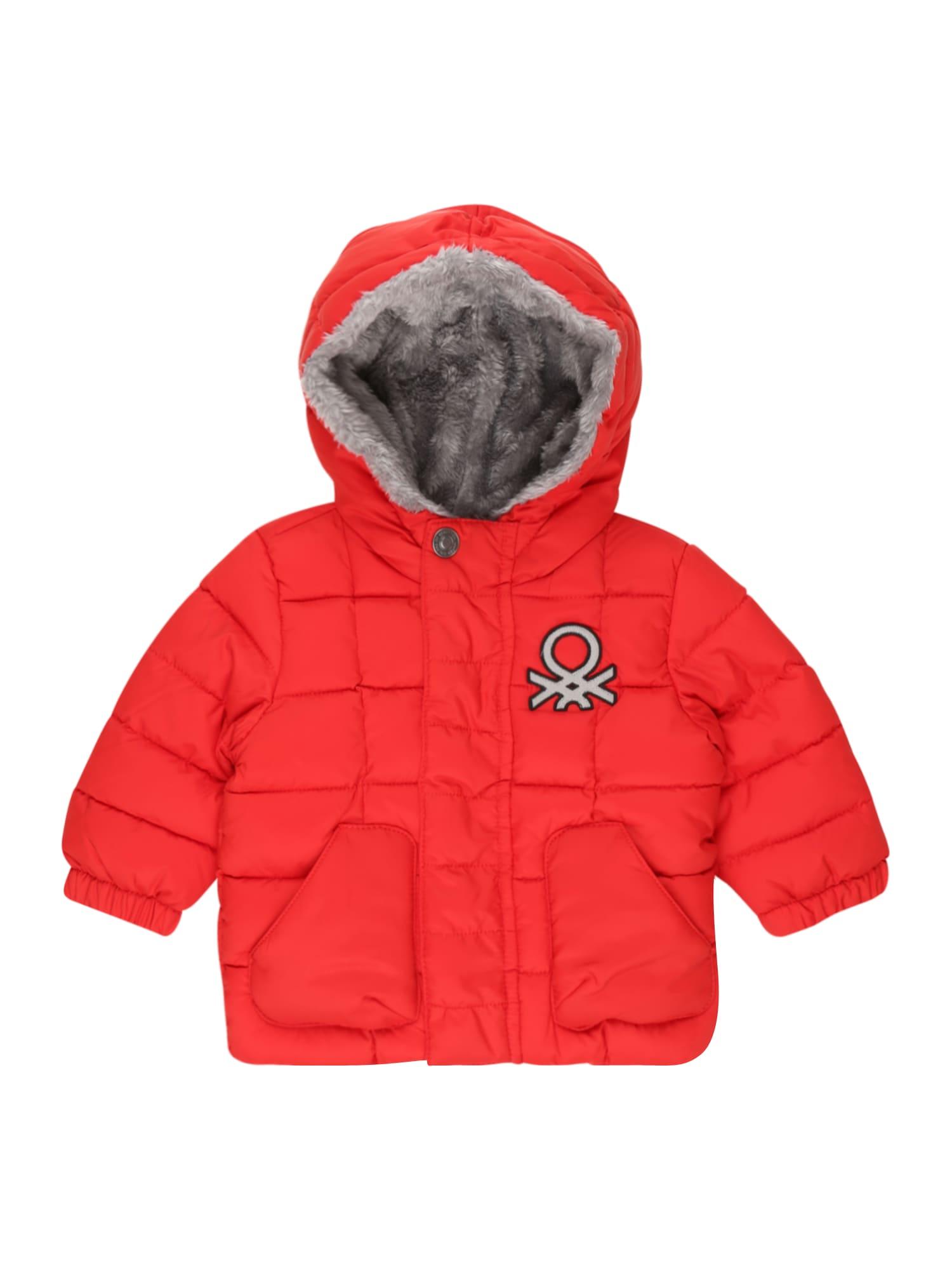 UNITED COLORS OF BENETTON Zimní bunda  světle červená / stříbrná / černá