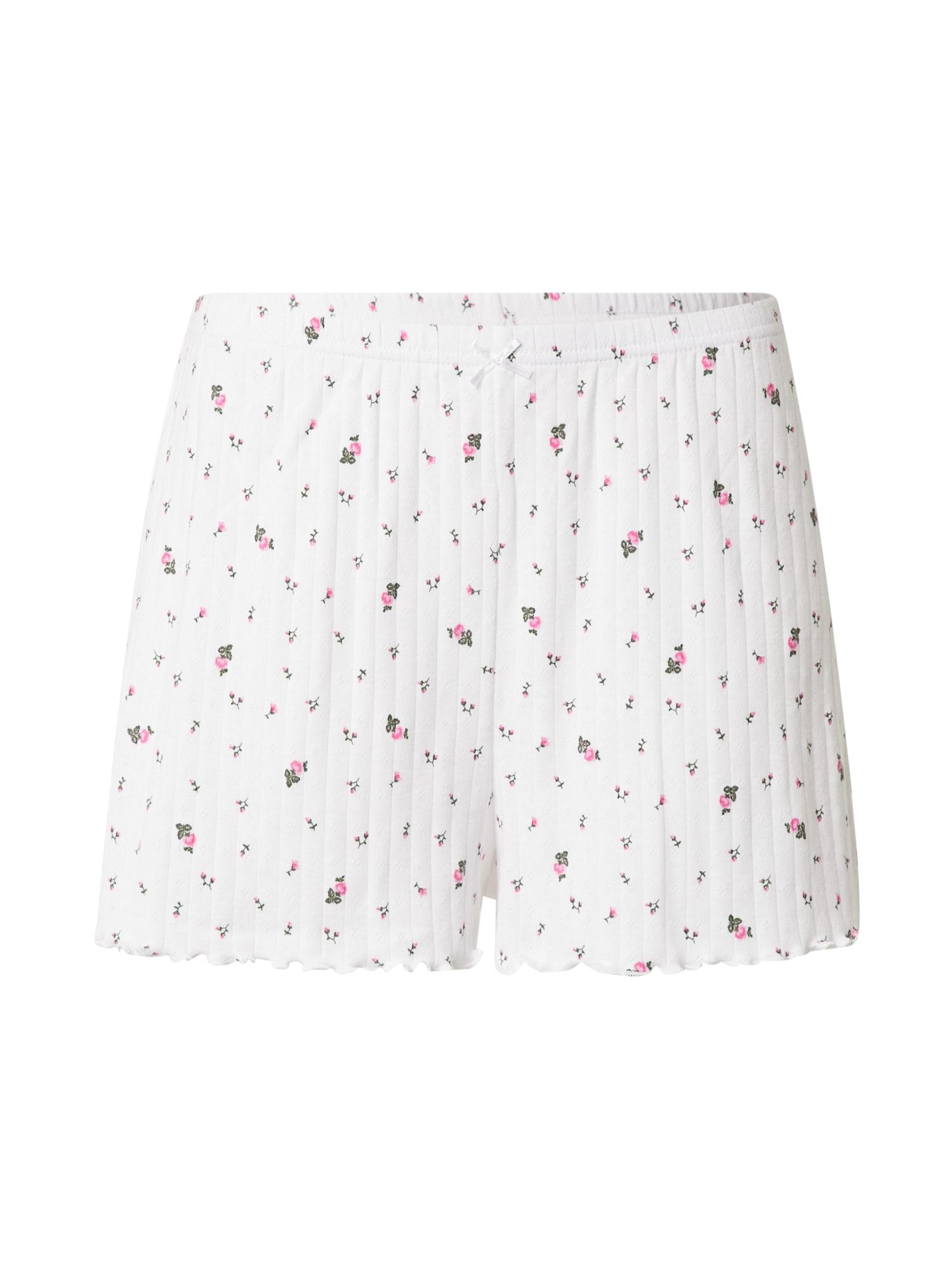 AERIE Pižaminės kelnės balta / rožinė / žalia