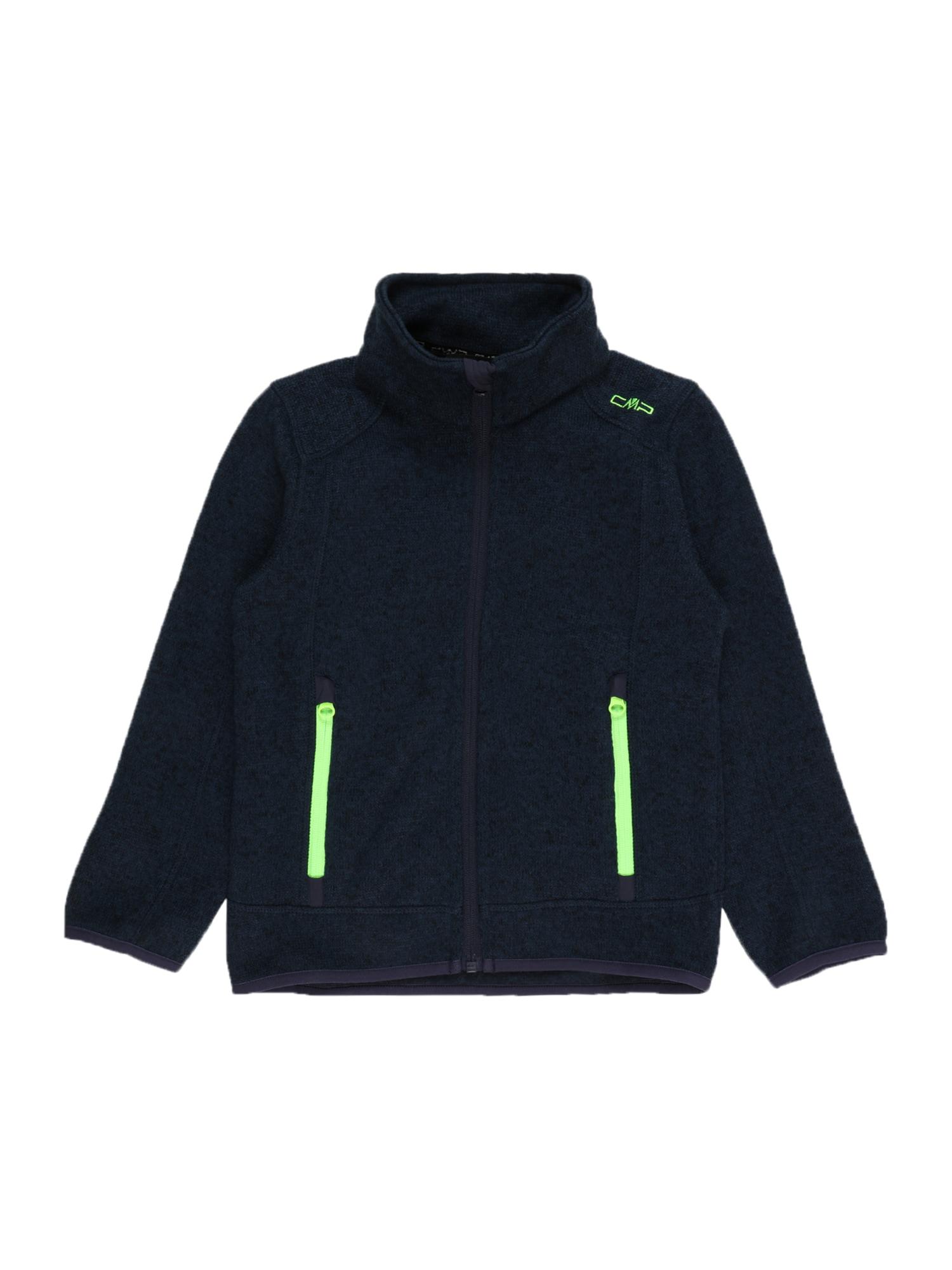 CMP Funkcinis flisinis džemperis juoda / nakties mėlyna / neoninė žalia