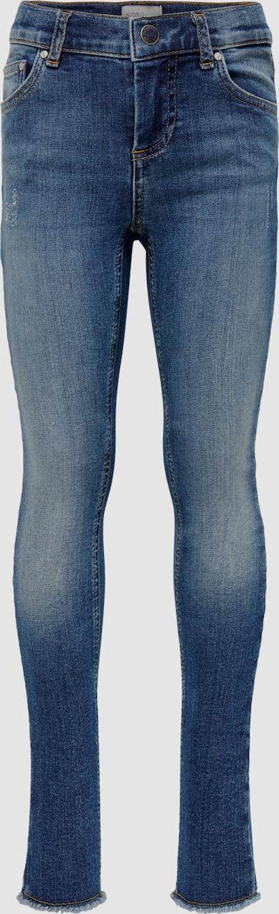 Kids Only Blush Skinny-Jeans in blauer Waschung mit ausgefranstem Saum