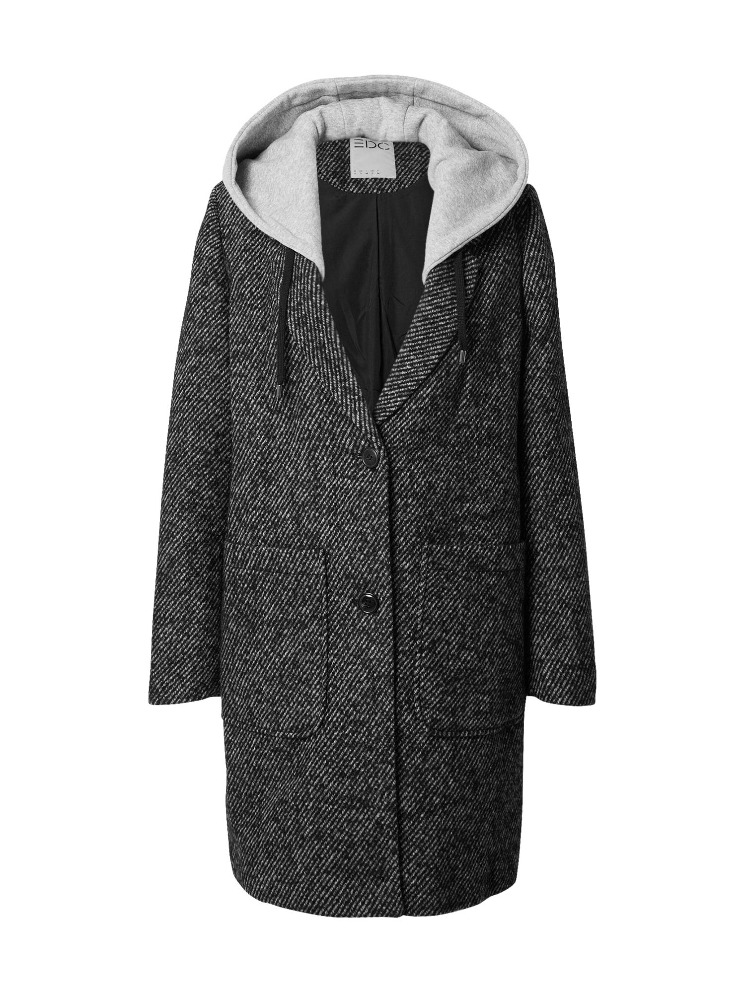 EDC BY ESPRIT Demisezoninis paltas juoda / pilka