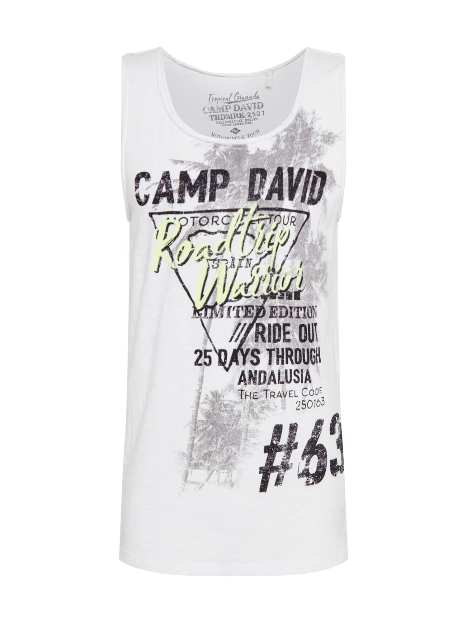 CAMP DAVID Marškinėliai balta / juoda / šviesiai pilka