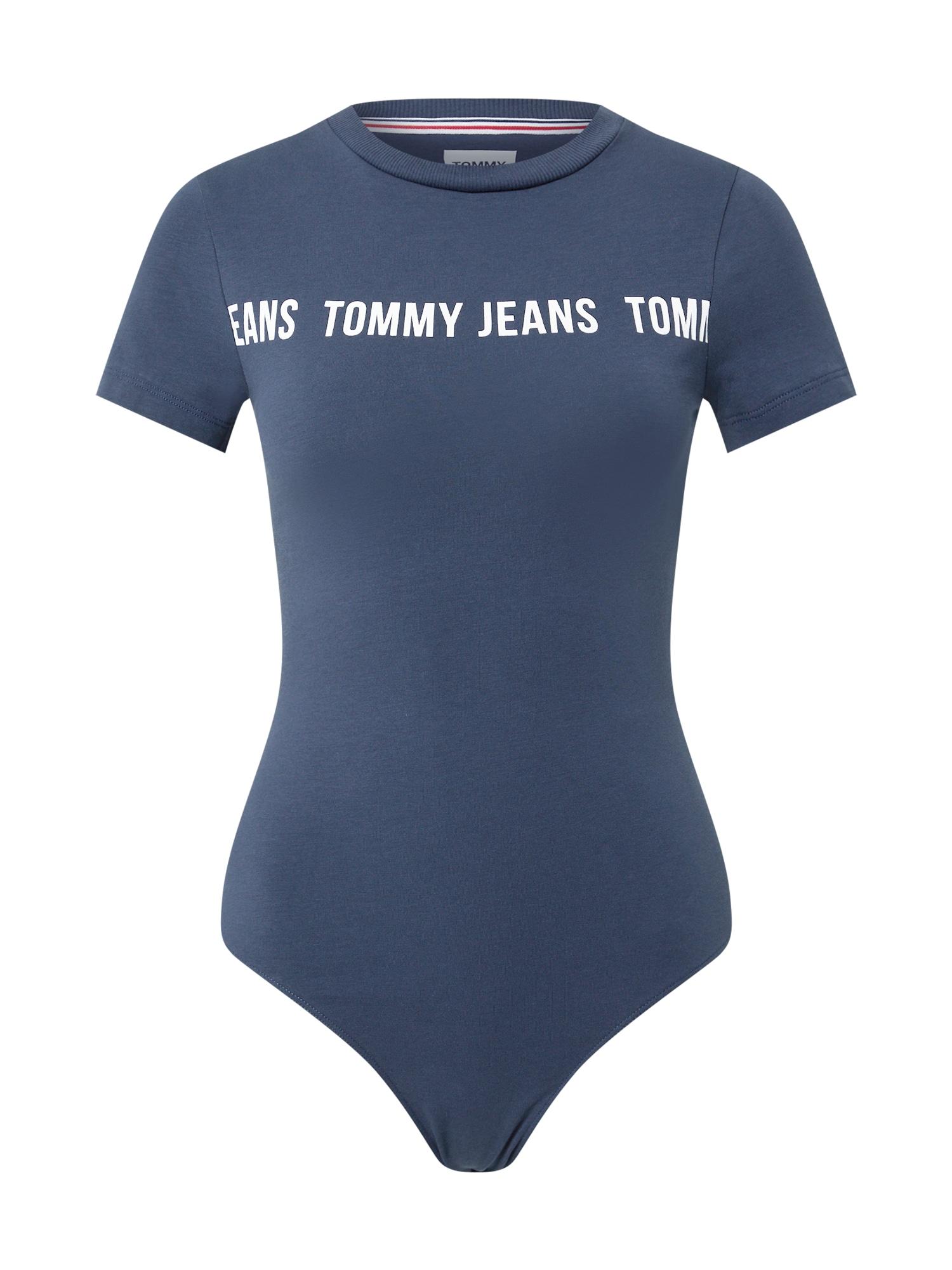 Tommy Jeans Marškinėliai-glaustinukė melsvai pilka / balta